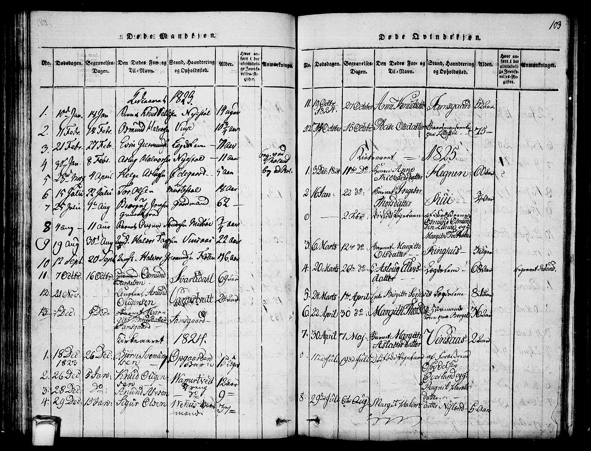 SAKO, Vinje kirkebøker, G/Ga/L0001: Klokkerbok nr. I 1, 1814-1843, s. 103