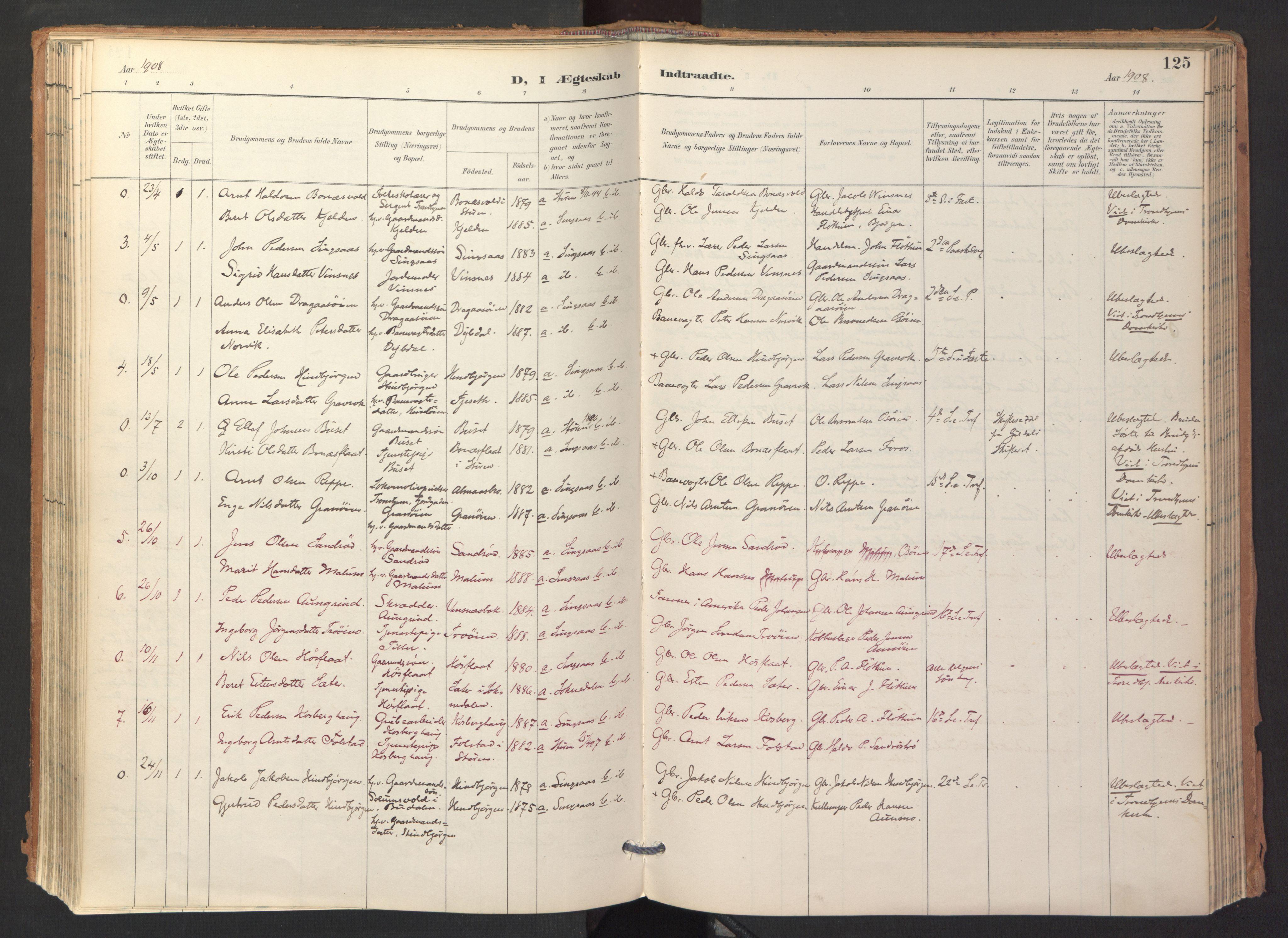 SAT, Ministerialprotokoller, klokkerbøker og fødselsregistre - Sør-Trøndelag, 688/L1025: Ministerialbok nr. 688A02, 1891-1909, s. 125