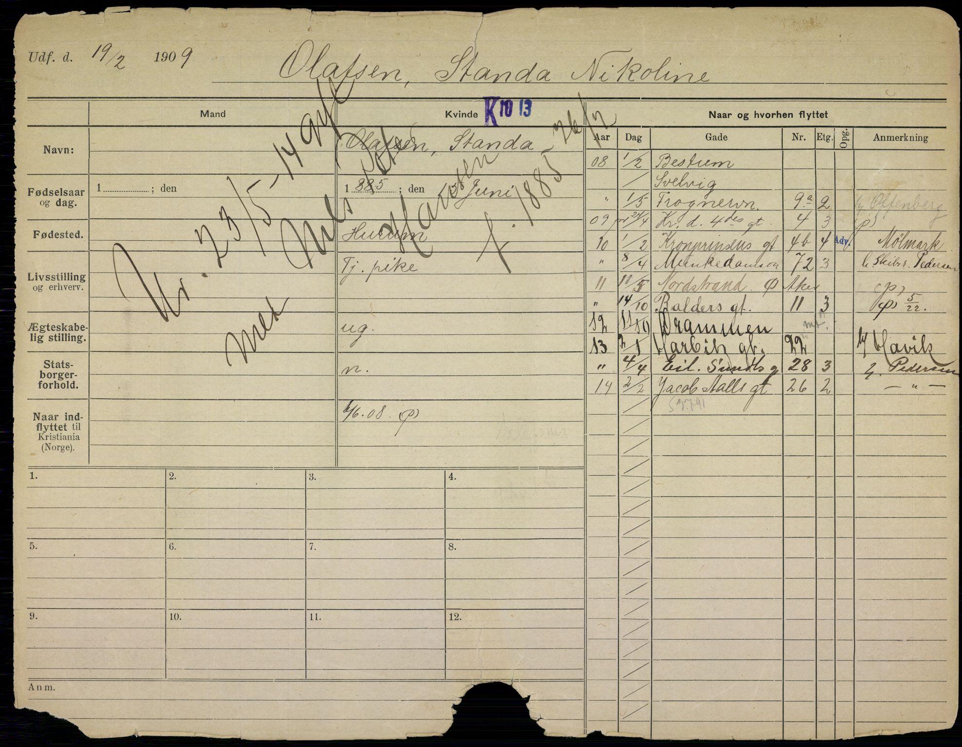 SAO, Oslo folkeregister, Registerkort, K/Kb/L0021: O - Å, 1914