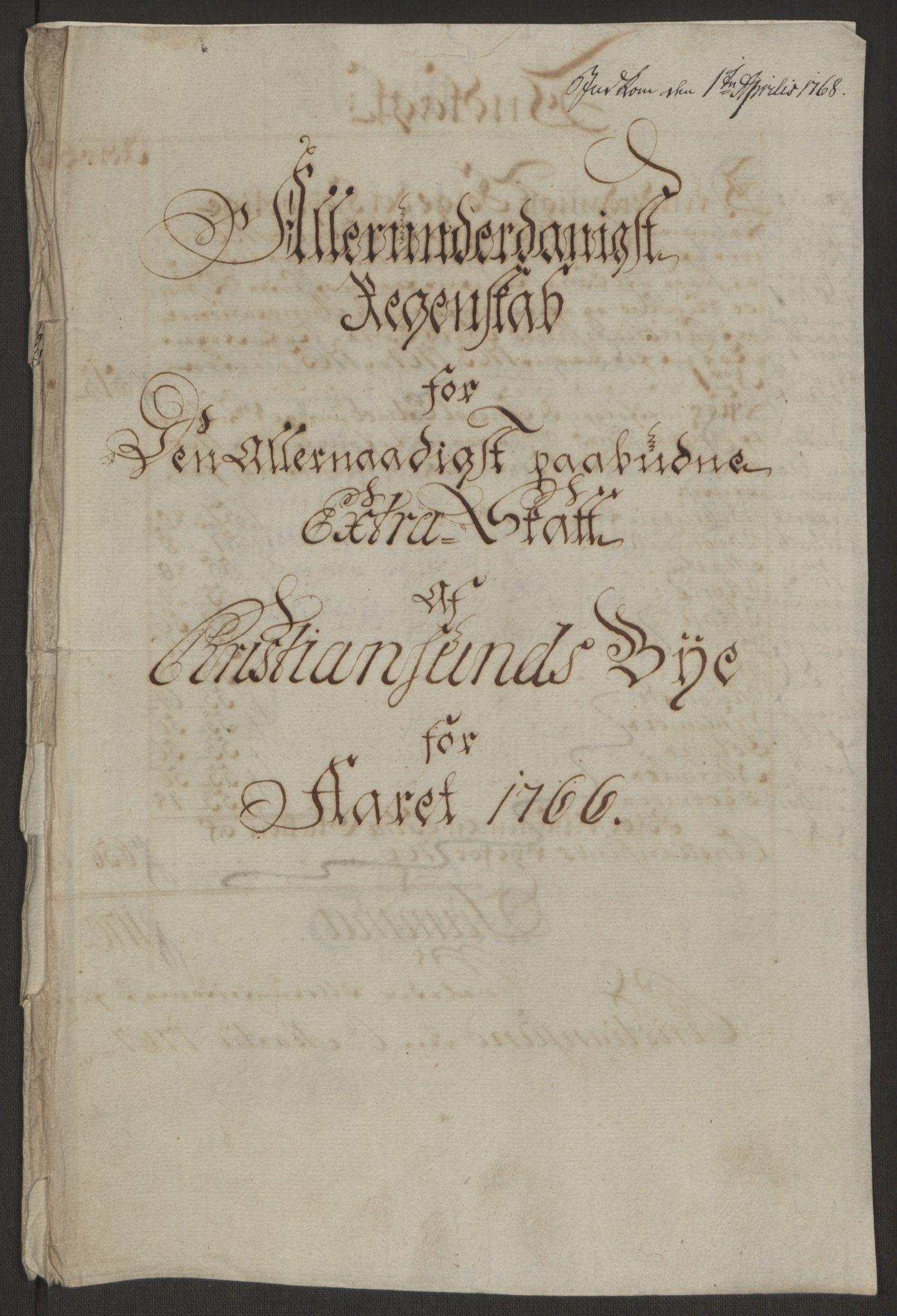 RA, Rentekammeret inntil 1814, Reviderte regnskaper, Byregnskaper, R/Rr/L0495: [R1] Kontribusjonsregnskap, 1762-1772, s. 85
