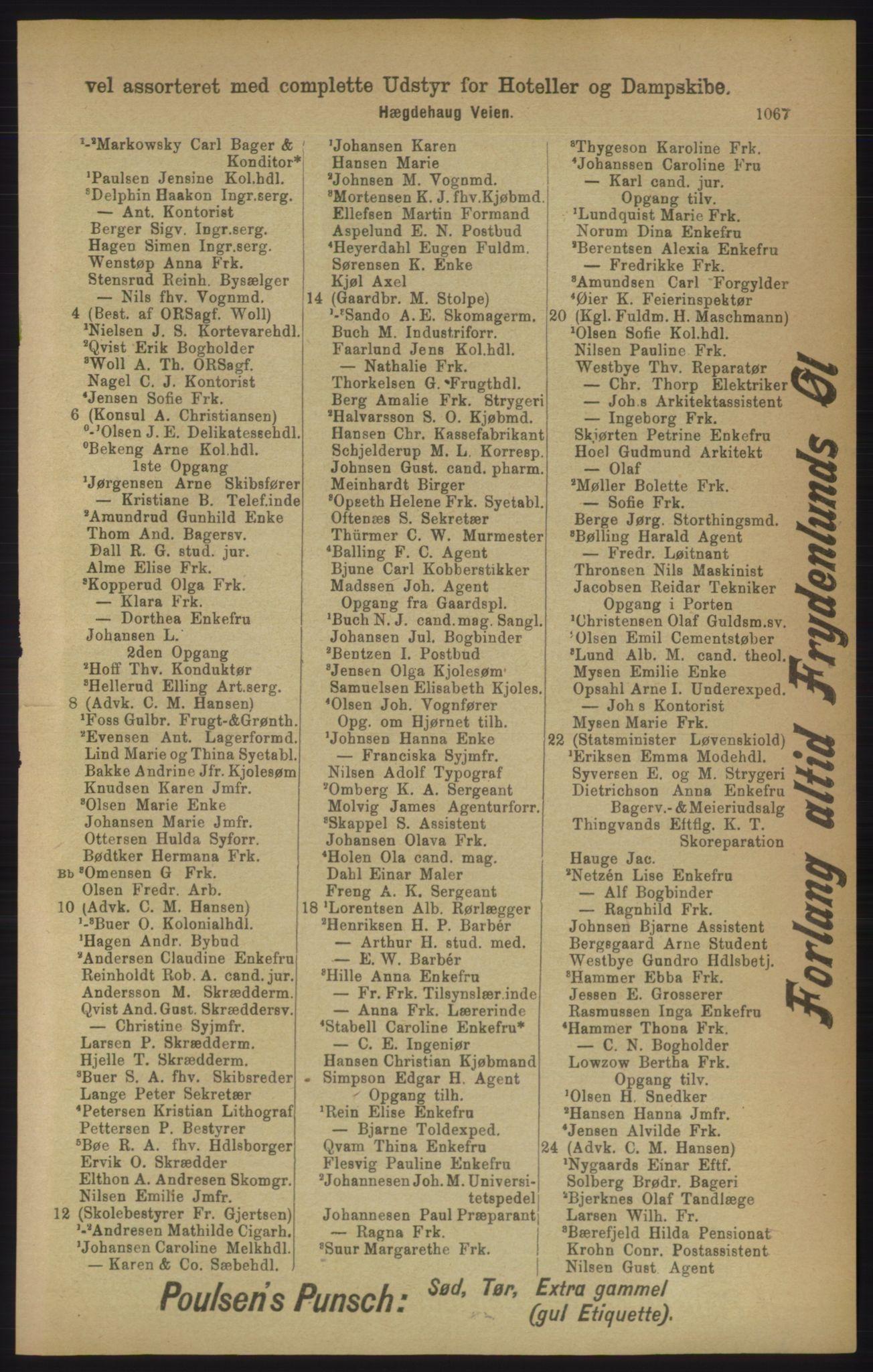 RA, Kristiania adressebok (publikasjon)*, 1906, s. 1067