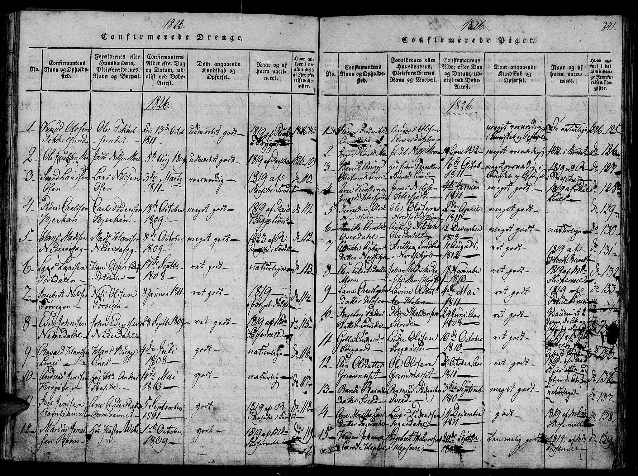 SAT, Ministerialprotokoller, klokkerbøker og fødselsregistre - Sør-Trøndelag, 657/L0702: Ministerialbok nr. 657A03, 1818-1831, s. 241