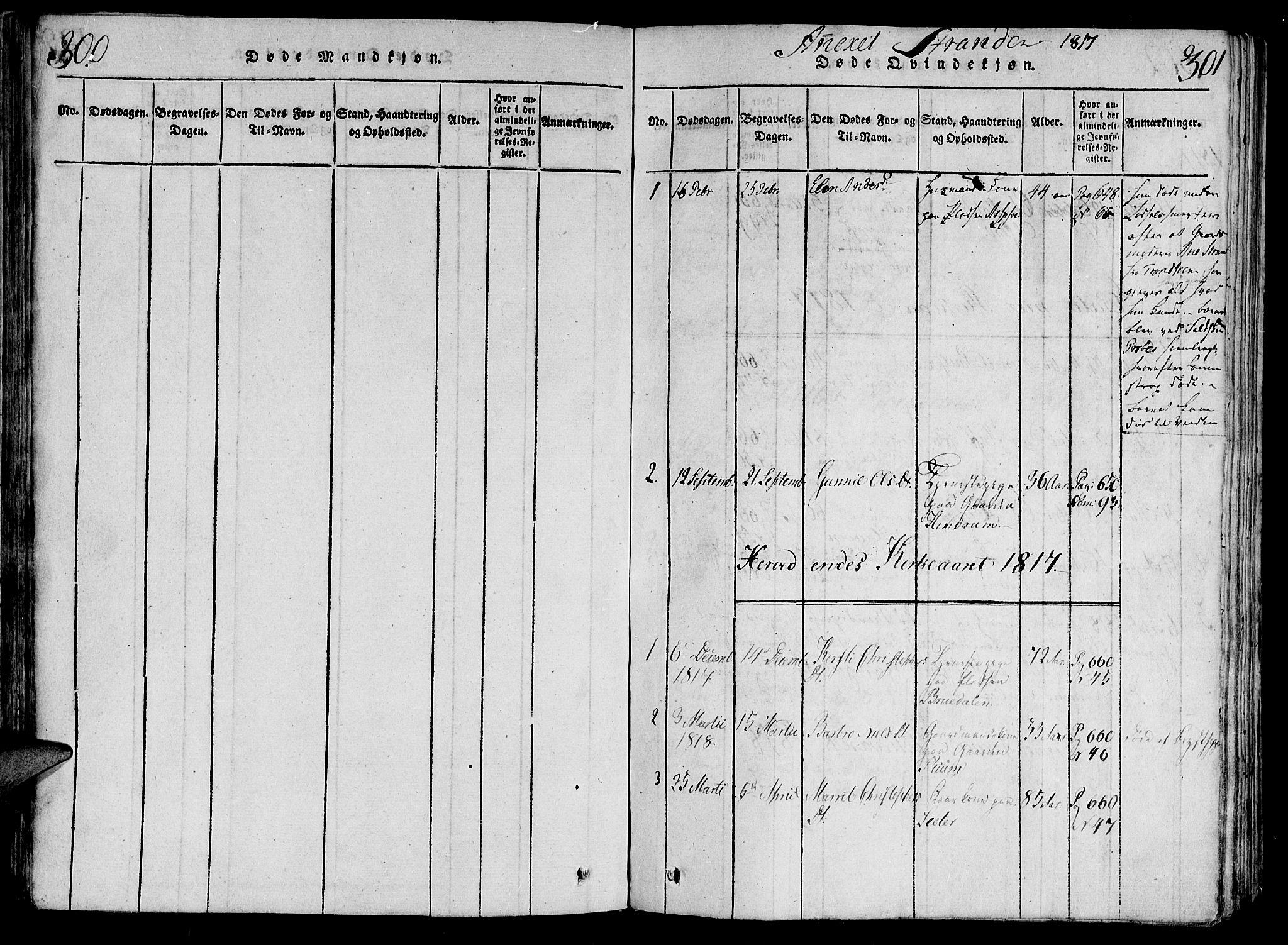 SAT, Ministerialprotokoller, klokkerbøker og fødselsregistre - Nord-Trøndelag, 701/L0005: Ministerialbok nr. 701A05 /2, 1816-1825, s. 300-301