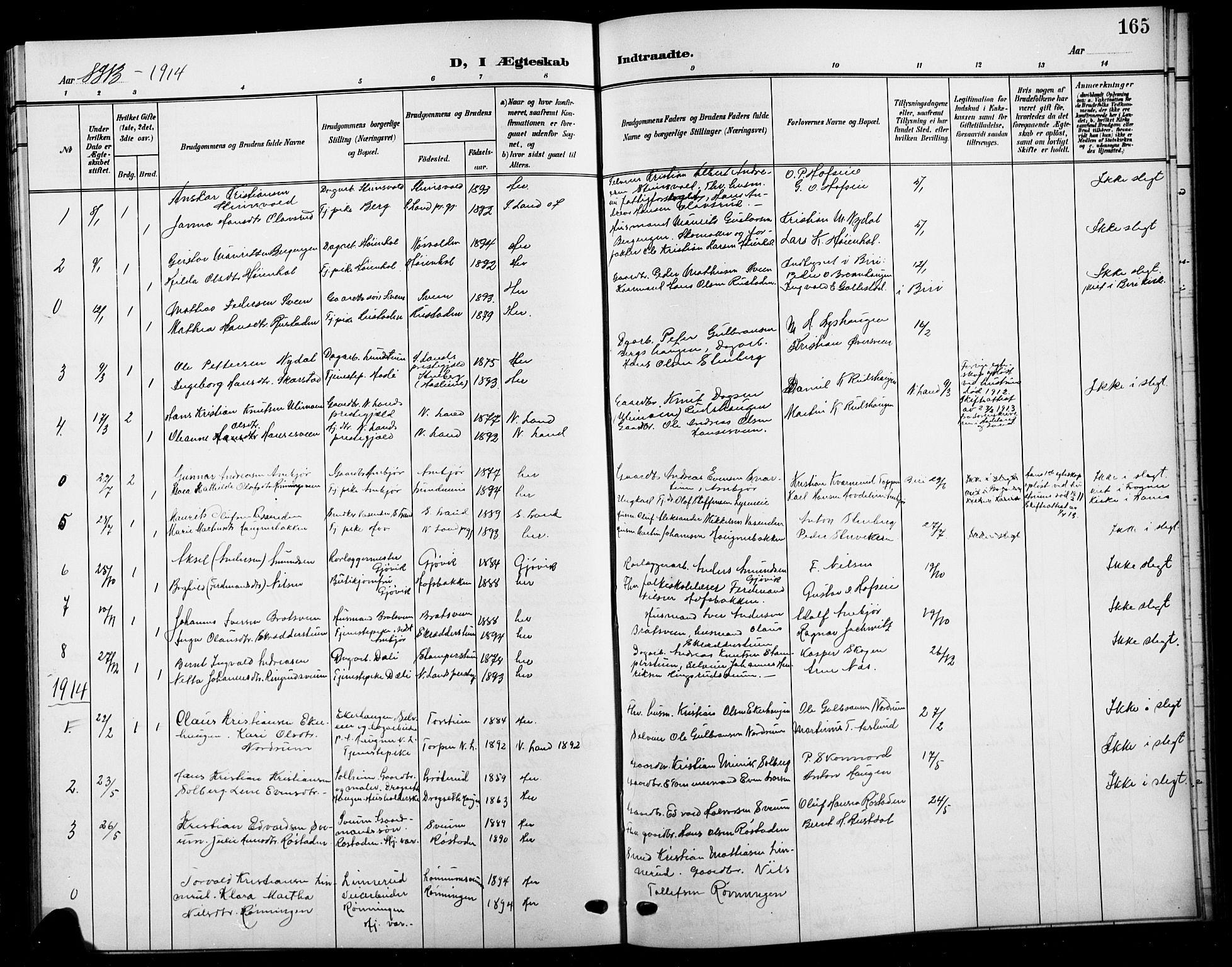 SAH, Biri prestekontor, Klokkerbok nr. 5, 1906-1919, s. 165