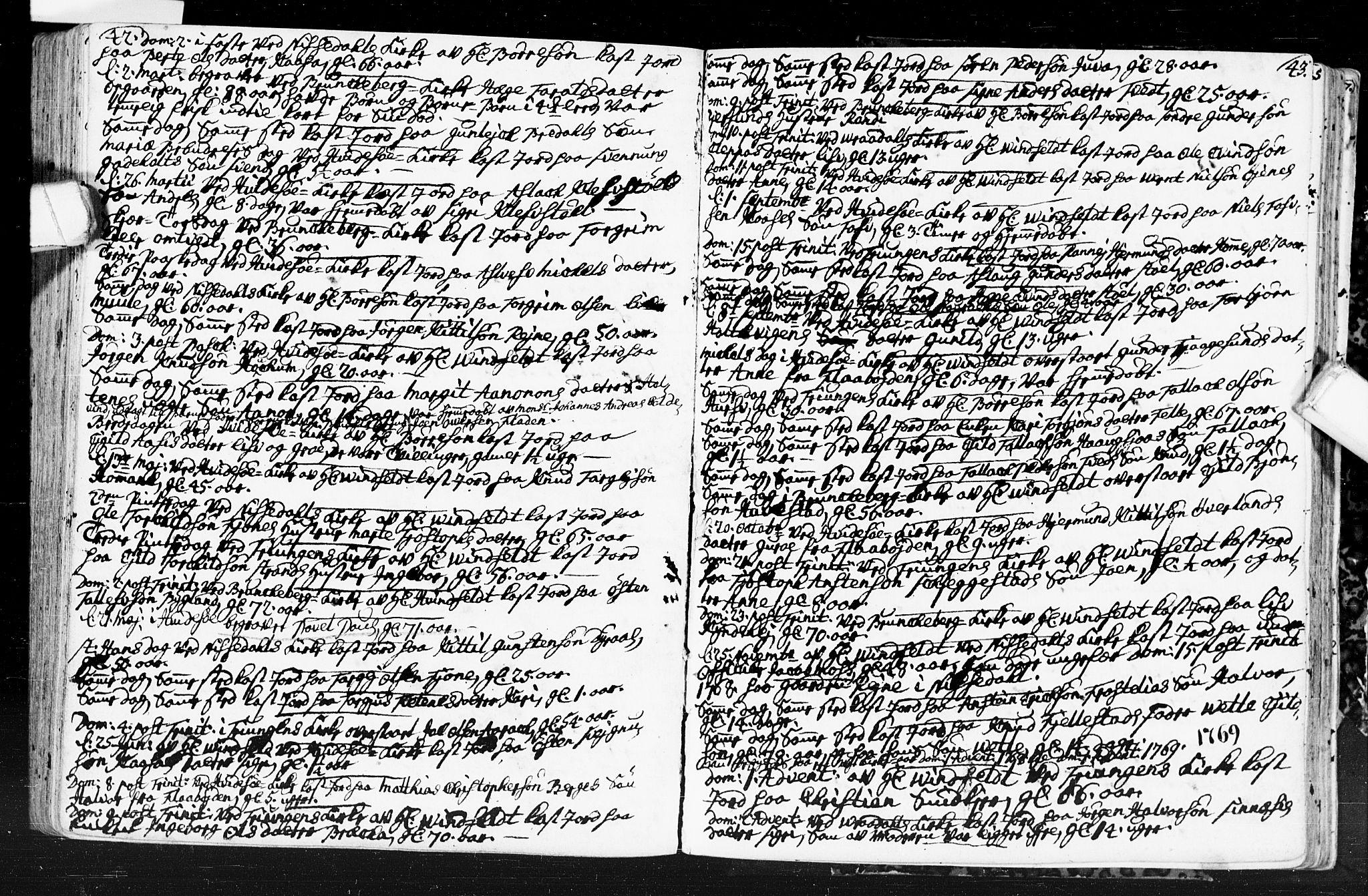 SAKO, Kviteseid kirkebøker, F/Fa/L0001: Ministerialbok nr. I 1, 1754-1773, s. 42-43