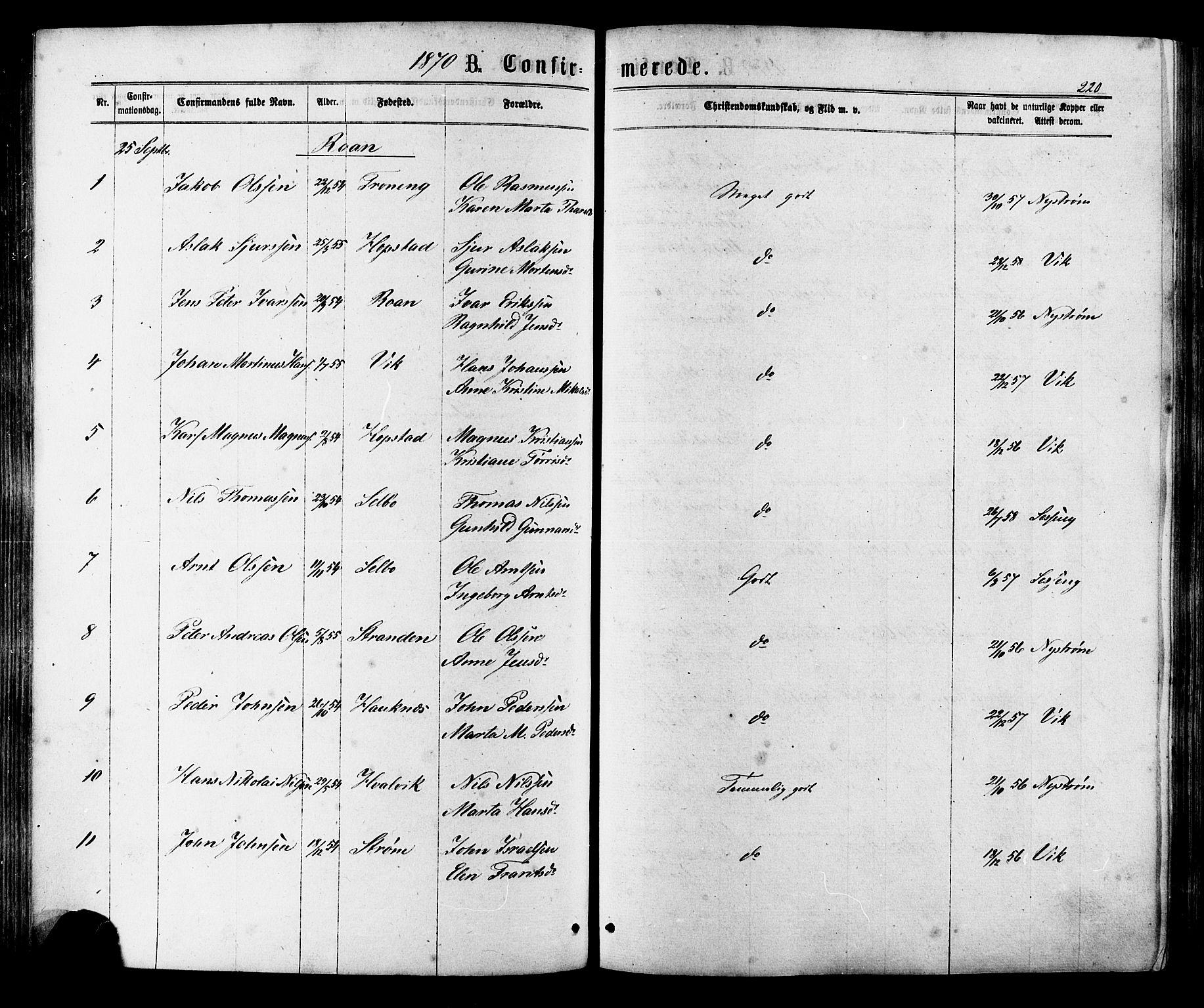 SAT, Ministerialprotokoller, klokkerbøker og fødselsregistre - Sør-Trøndelag, 657/L0706: Ministerialbok nr. 657A07, 1867-1878, s. 220