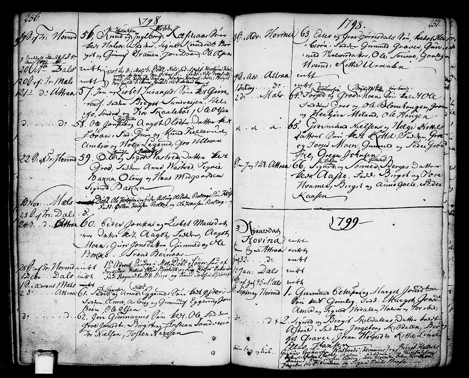 SAKO, Tinn kirkebøker, F/Fa/L0002: Ministerialbok nr. I 2, 1757-1810, s. 256-257