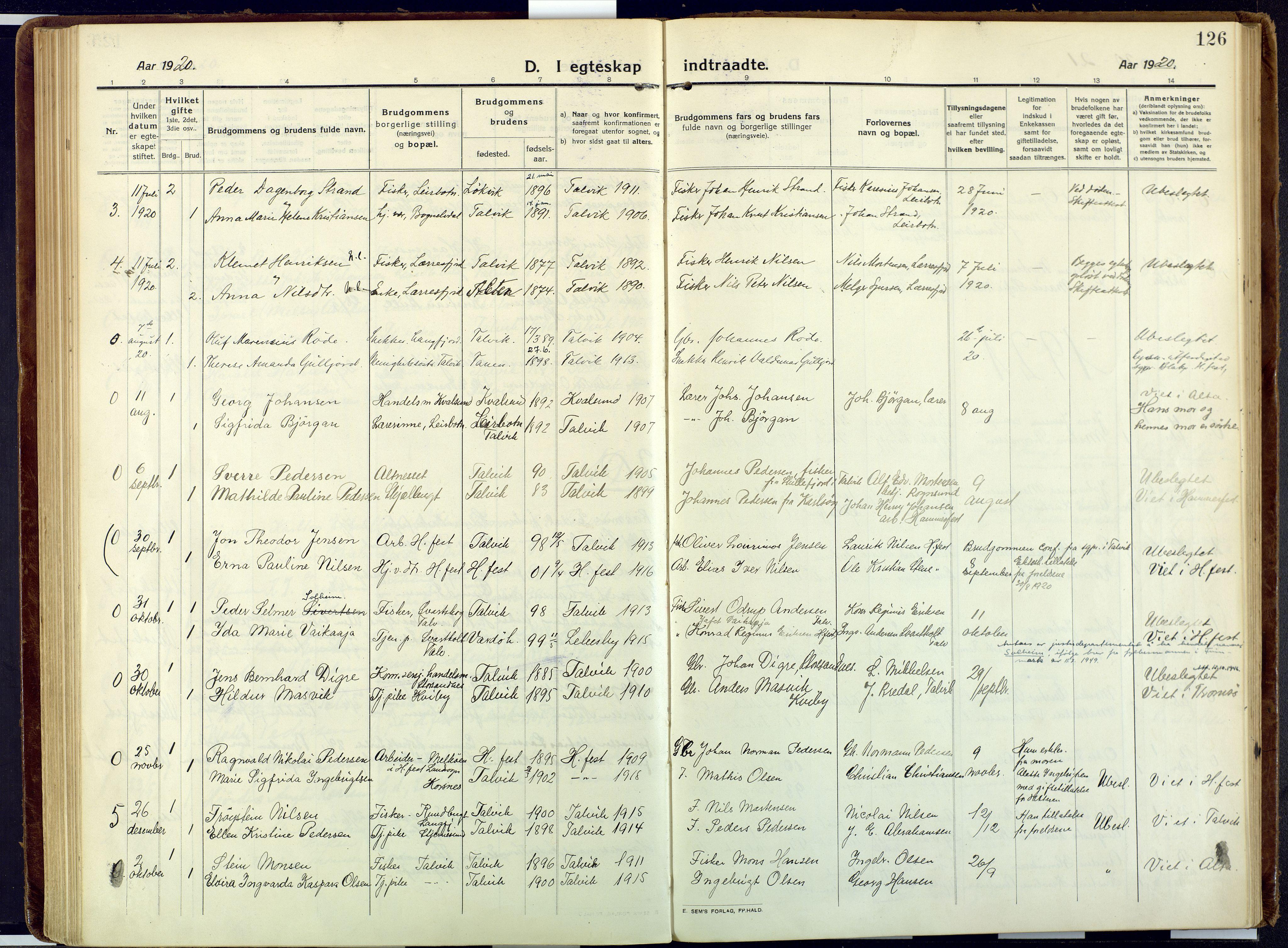 SATØ, Talvik sokneprestkontor, H/Ha/L0018kirke: Ministerialbok nr. 18, 1915-1924, s. 126