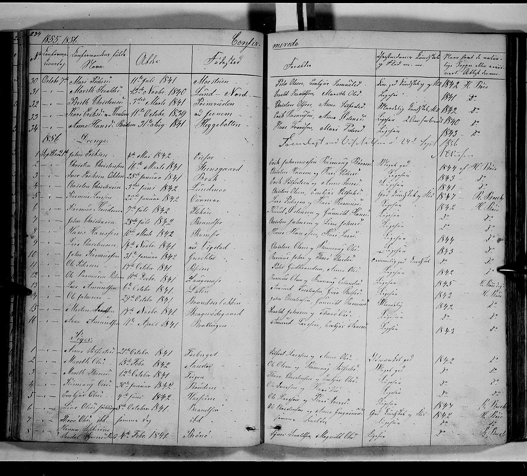 SAH, Lom prestekontor, L/L0004: Klokkerbok nr. 4, 1845-1864, s. 234-235