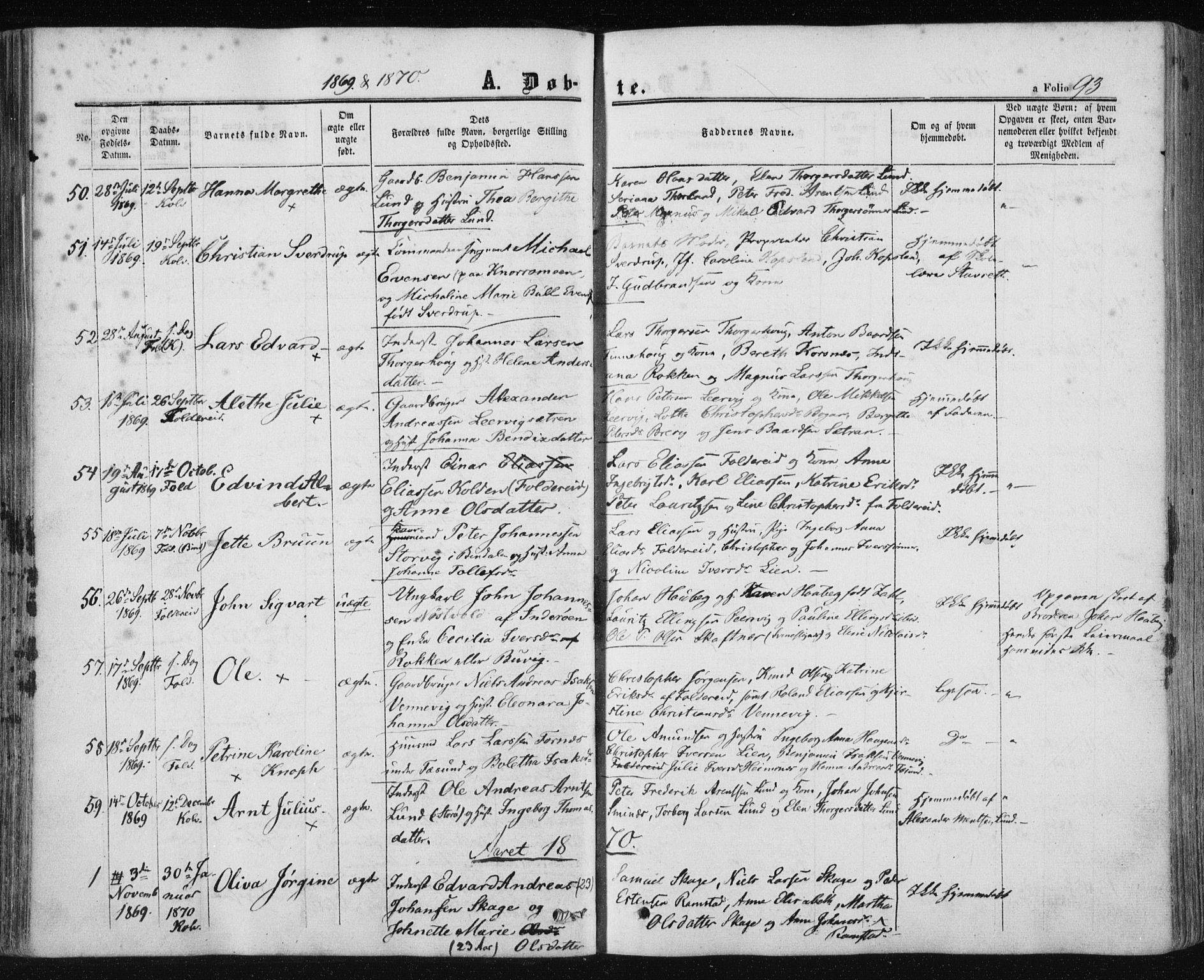 SAT, Ministerialprotokoller, klokkerbøker og fødselsregistre - Nord-Trøndelag, 780/L0641: Ministerialbok nr. 780A06, 1857-1874, s. 93