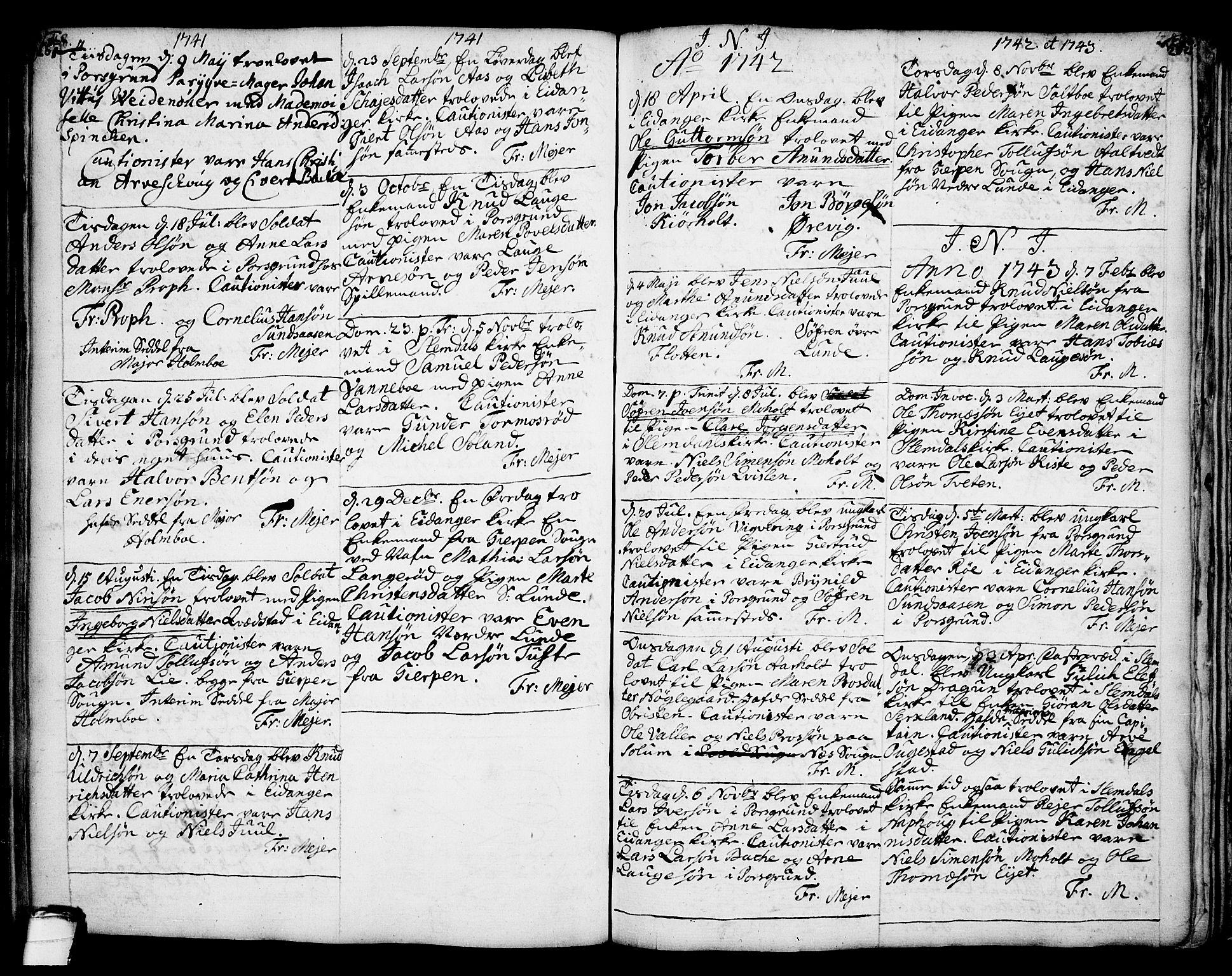 SAKO, Eidanger kirkebøker, F/Fa/L0004: Ministerialbok nr. 4, 1733-1759, s. 261-262