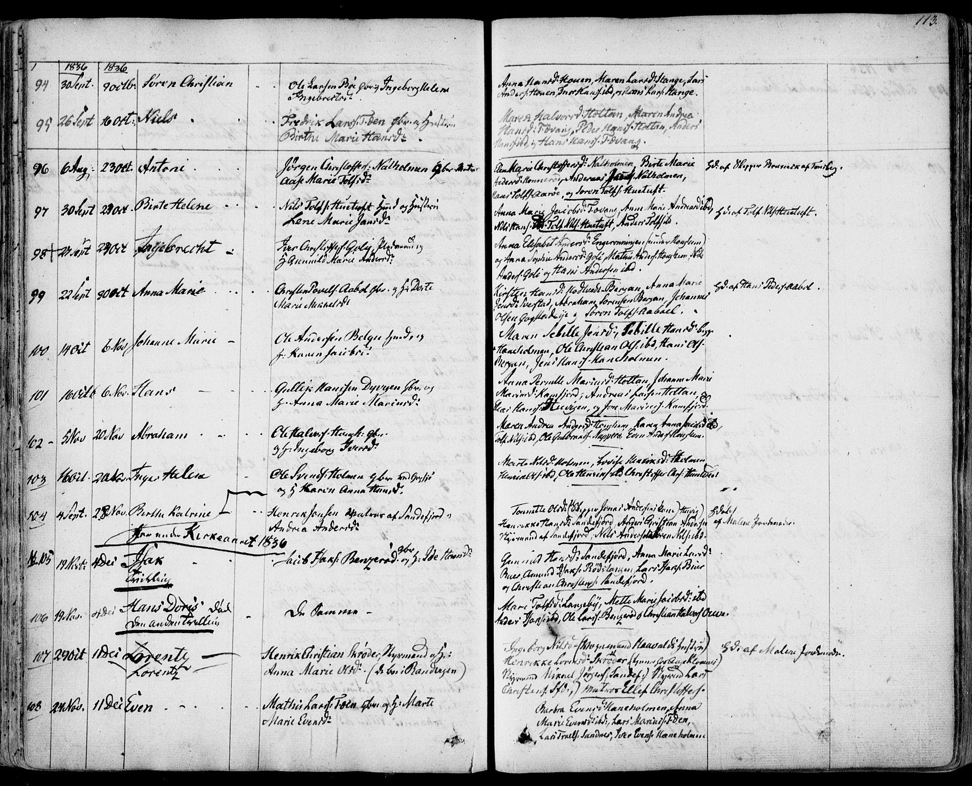 SAKO, Sandar kirkebøker, F/Fa/L0005: Ministerialbok nr. 5, 1832-1847, s. 112-113