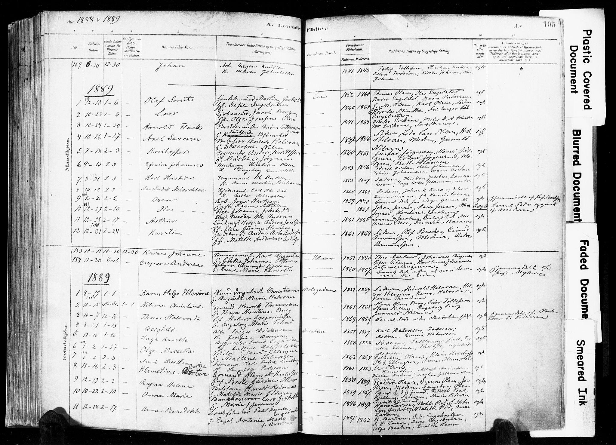 SAKO, Skien kirkebøker, F/Fa/L0009: Ministerialbok nr. 9, 1878-1890, s. 105