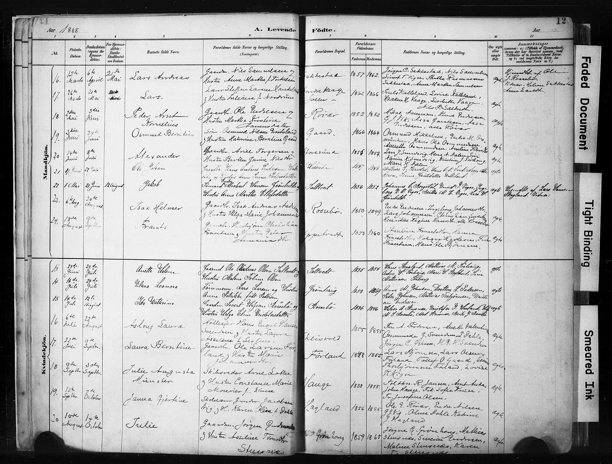 SAST, Haugesund sokneprestkontor, H/Ha/Haa/L0004: Ministerialbok nr. A 4, 1886-1908, s. 12