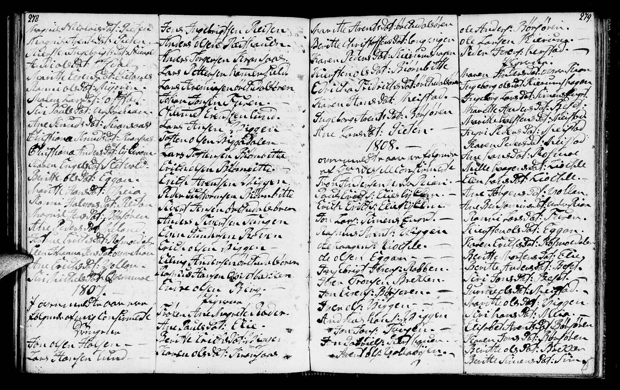 SAT, Ministerialprotokoller, klokkerbøker og fødselsregistre - Sør-Trøndelag, 665/L0769: Ministerialbok nr. 665A04, 1803-1816, s. 278-279