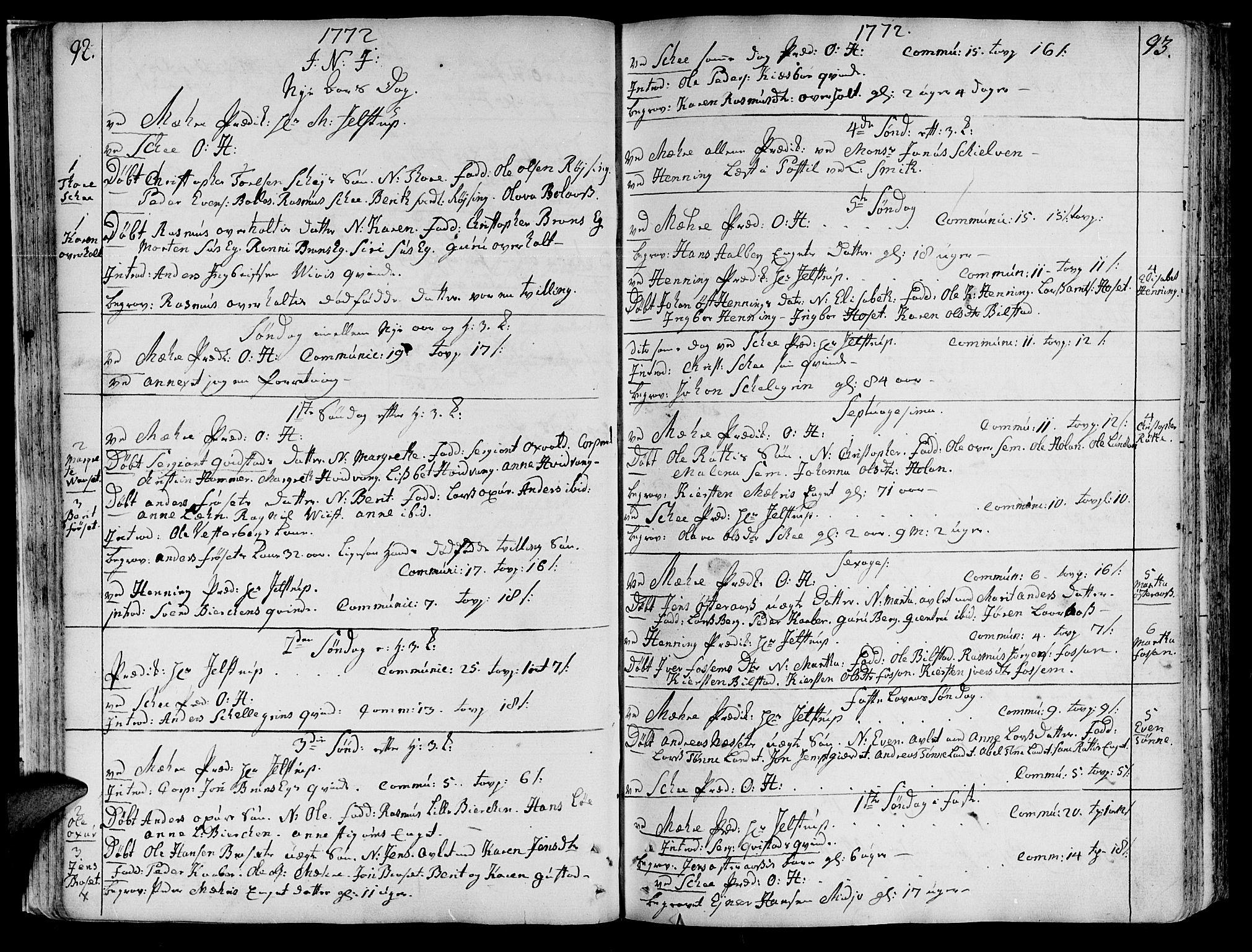 SAT, Ministerialprotokoller, klokkerbøker og fødselsregistre - Nord-Trøndelag, 735/L0331: Ministerialbok nr. 735A02, 1762-1794, s. 92-93