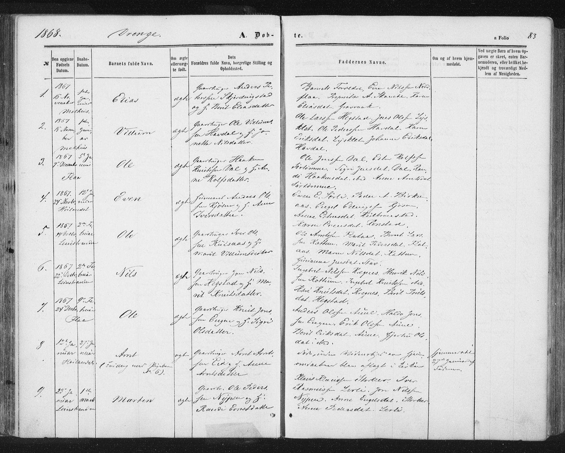 SAT, Ministerialprotokoller, klokkerbøker og fødselsregistre - Sør-Trøndelag, 691/L1077: Ministerialbok nr. 691A09, 1862-1873, s. 83