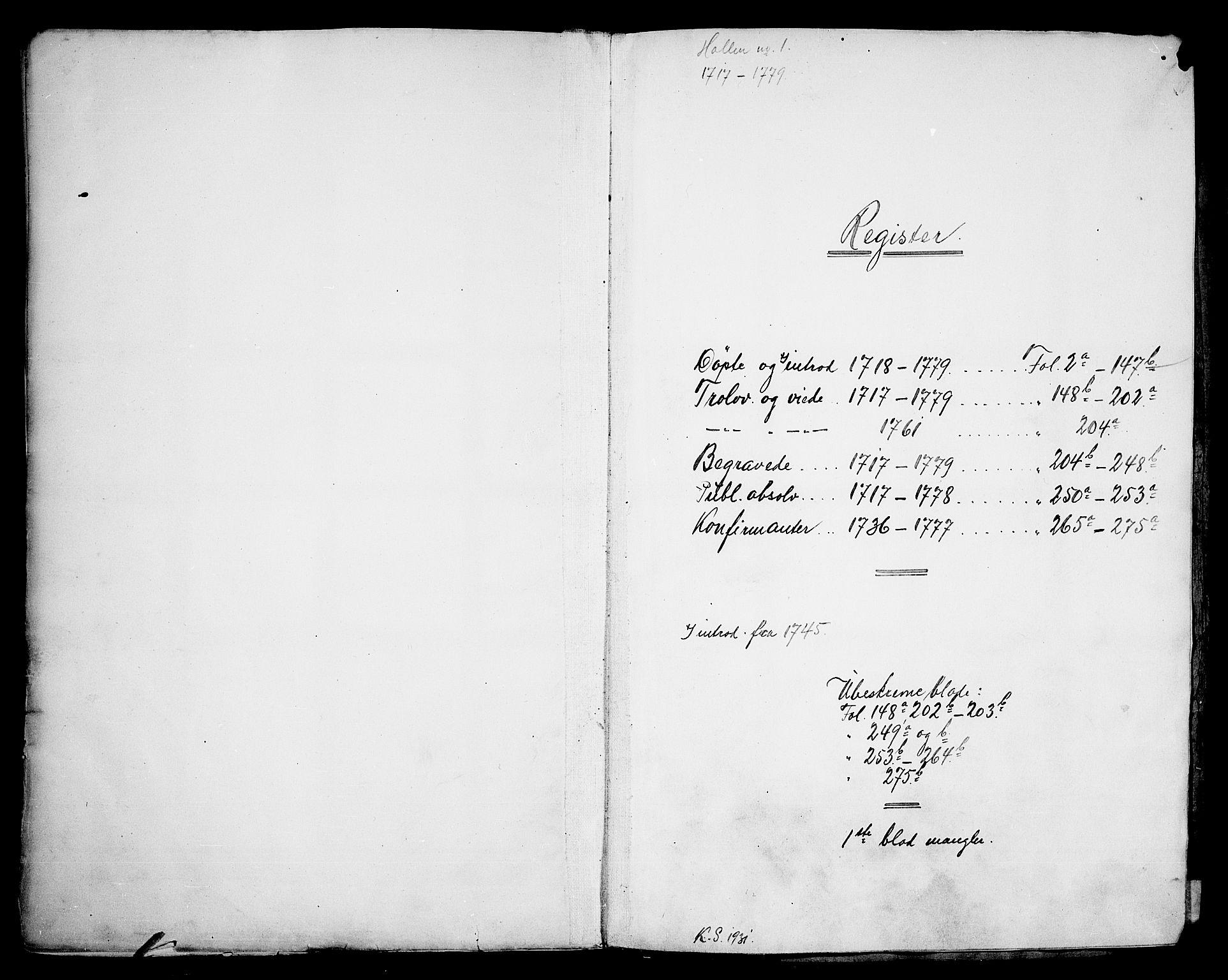 SAKO, Holla kirkebøker, F/Fa/L0001: Ministerialbok nr. 1, 1717-1779