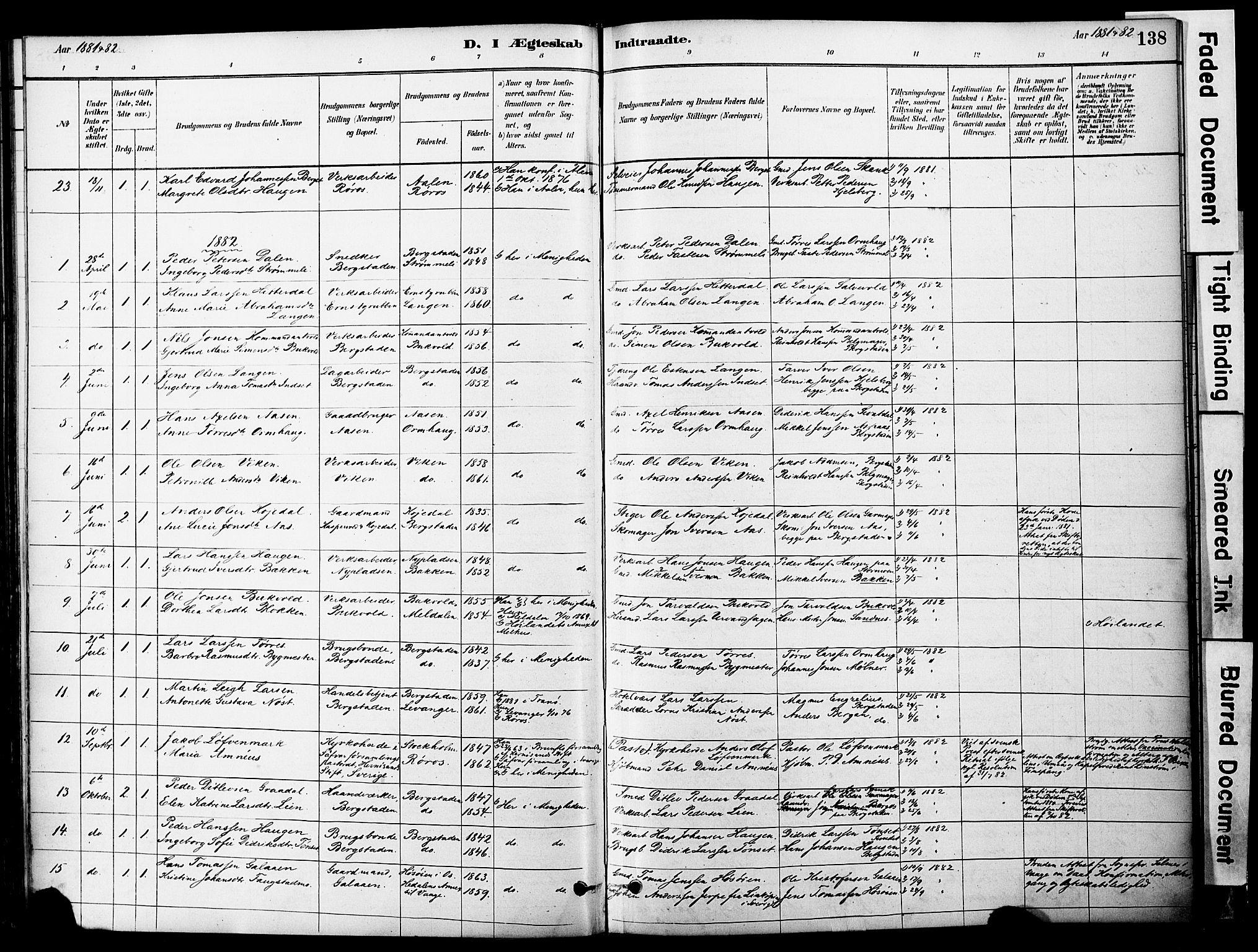 SAT, Ministerialprotokoller, klokkerbøker og fødselsregistre - Sør-Trøndelag, 681/L0933: Ministerialbok nr. 681A11, 1879-1890, s. 138