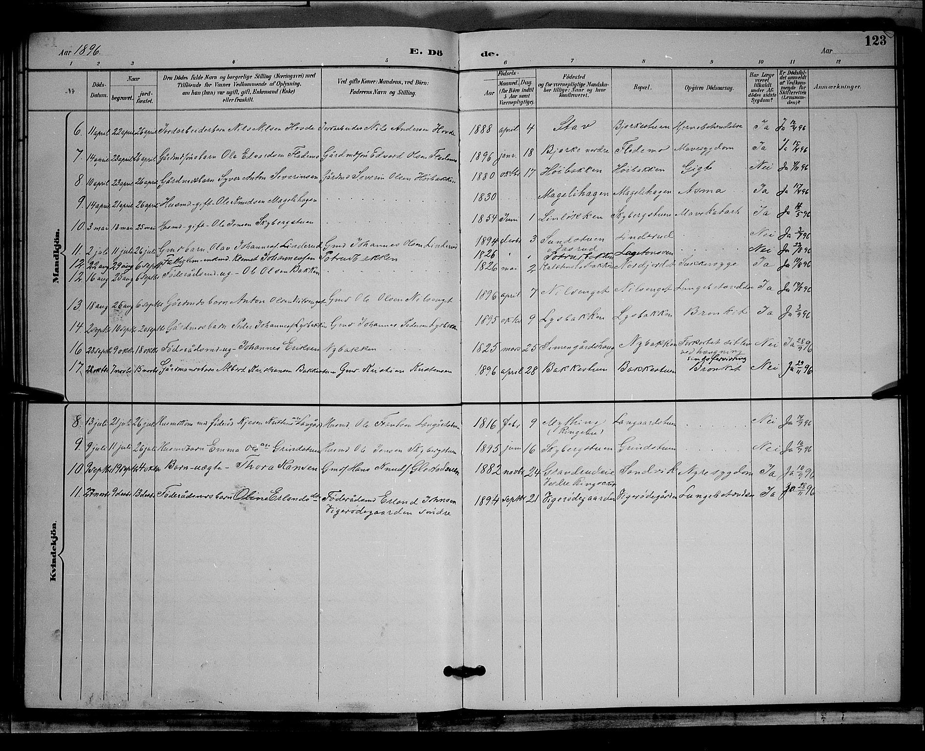 SAH, Øyer prestekontor, Klokkerbok nr. 4, 1894-1905, s. 123
