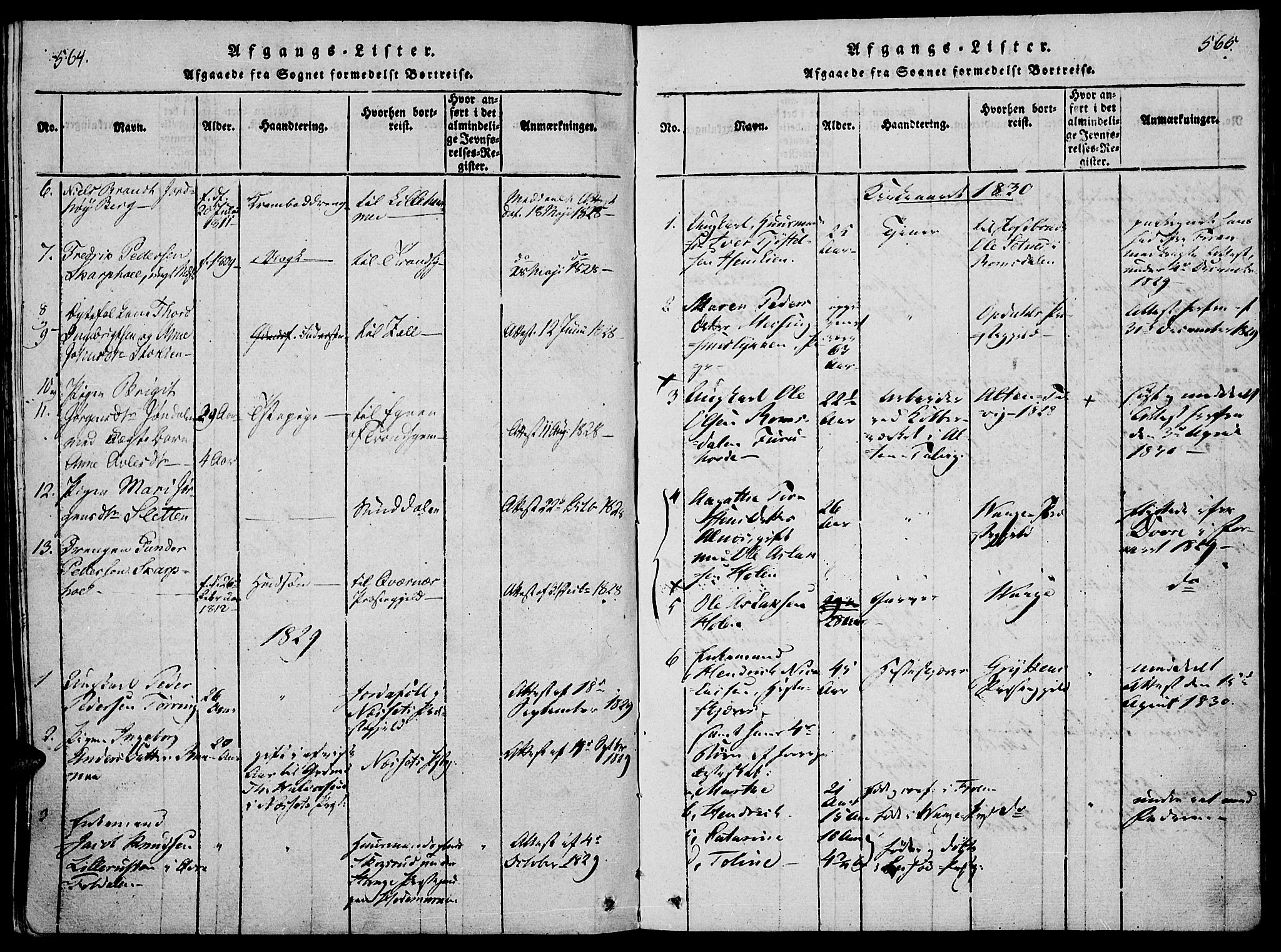 SAH, Lesja prestekontor, Ministerialbok nr. 4, 1820-1829, s. 564-565