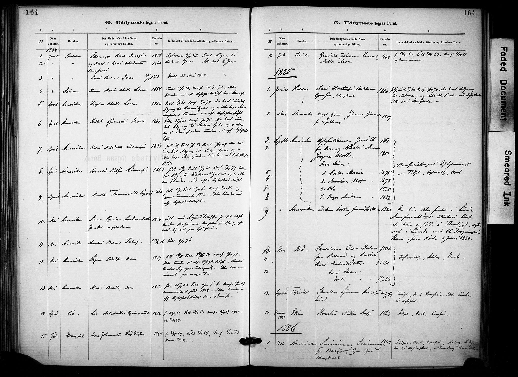 SAKO, Lunde kirkebøker, F/Fa/L0002: Ministerialbok nr. I 2, 1884-1892, s. 164