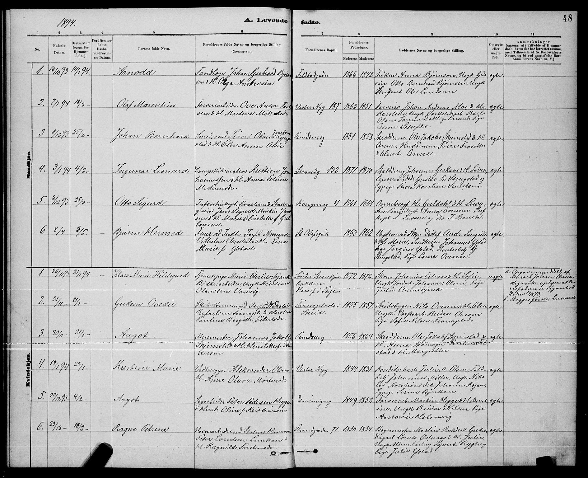 SAT, Ministerialprotokoller, klokkerbøker og fødselsregistre - Nord-Trøndelag, 739/L0374: Klokkerbok nr. 739C02, 1883-1898, s. 48