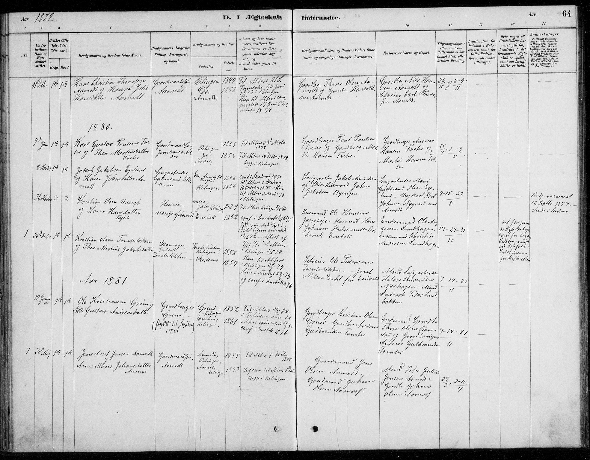 SAO, Fet prestekontor Kirkebøker, G/Gb/L0002: Klokkerbok nr. II 2, 1878-1911, s. 64
