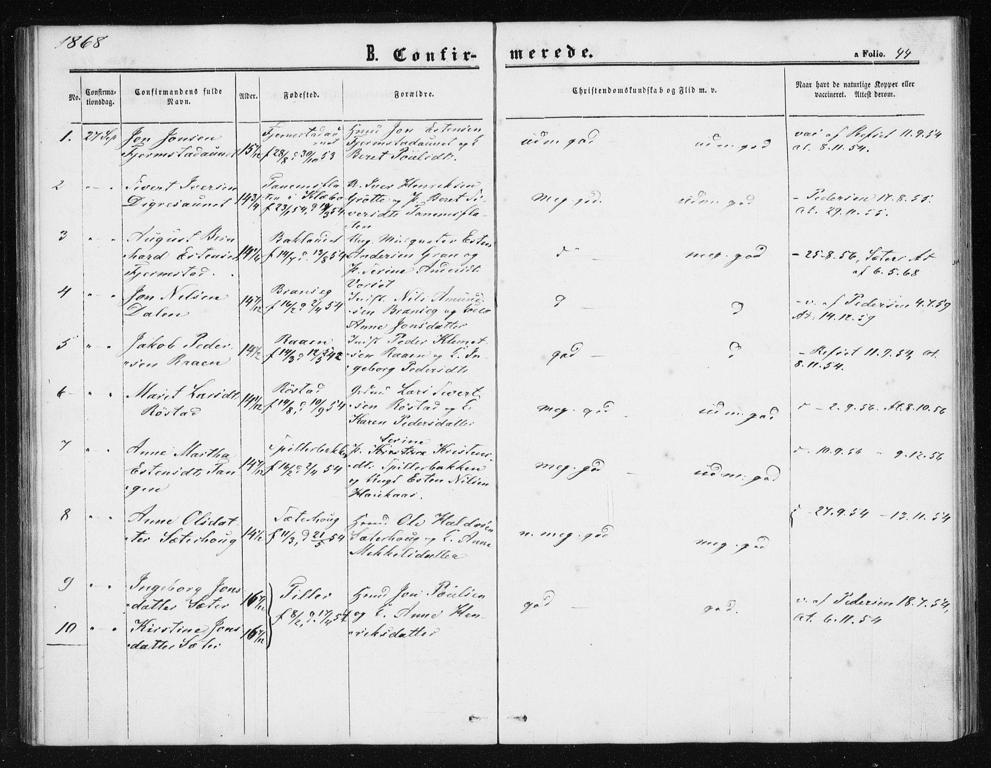 SAT, Ministerialprotokoller, klokkerbøker og fødselsregistre - Sør-Trøndelag, 608/L0333: Ministerialbok nr. 608A02, 1862-1876, s. 44