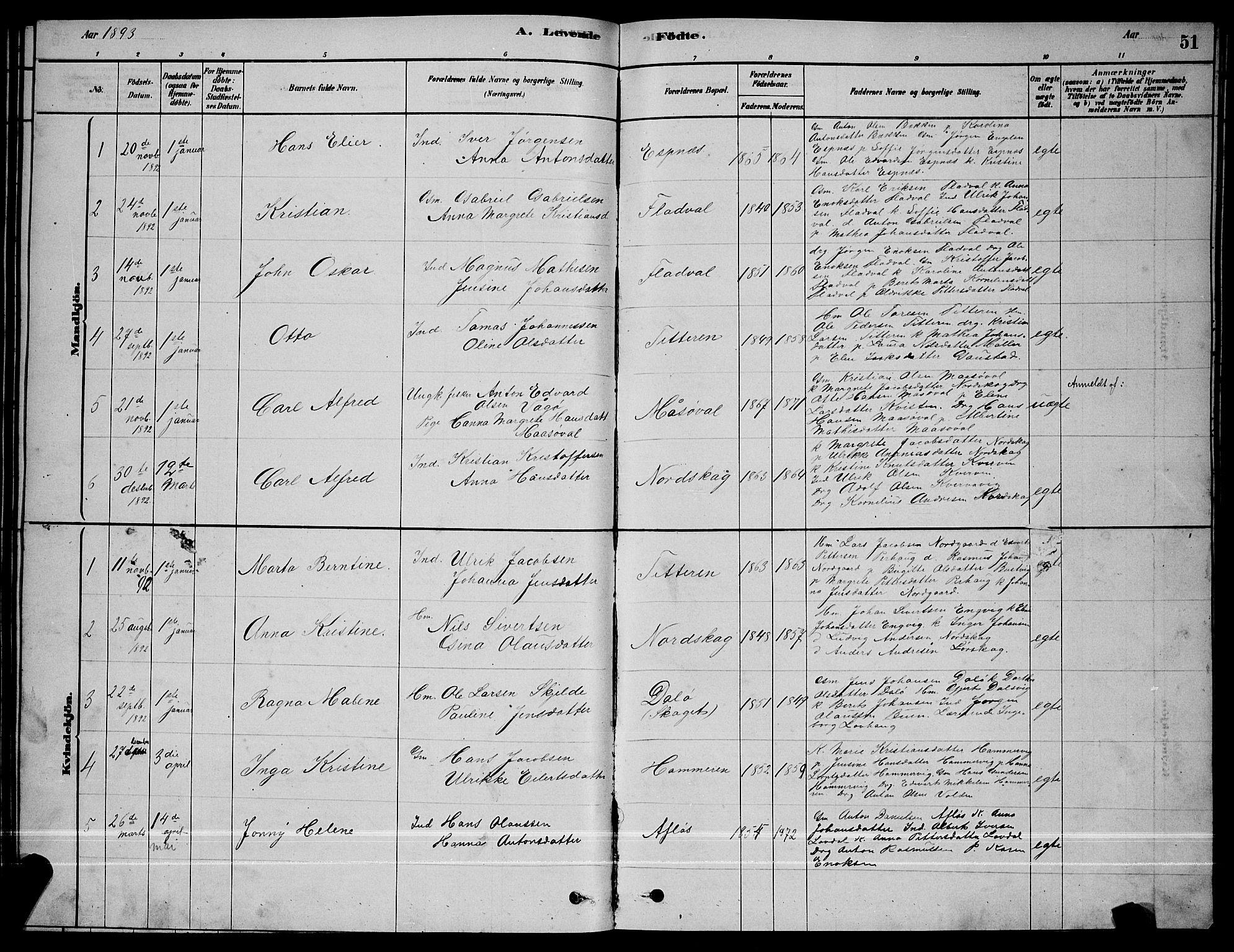 SAT, Ministerialprotokoller, klokkerbøker og fødselsregistre - Sør-Trøndelag, 641/L0597: Klokkerbok nr. 641C01, 1878-1893, s. 51