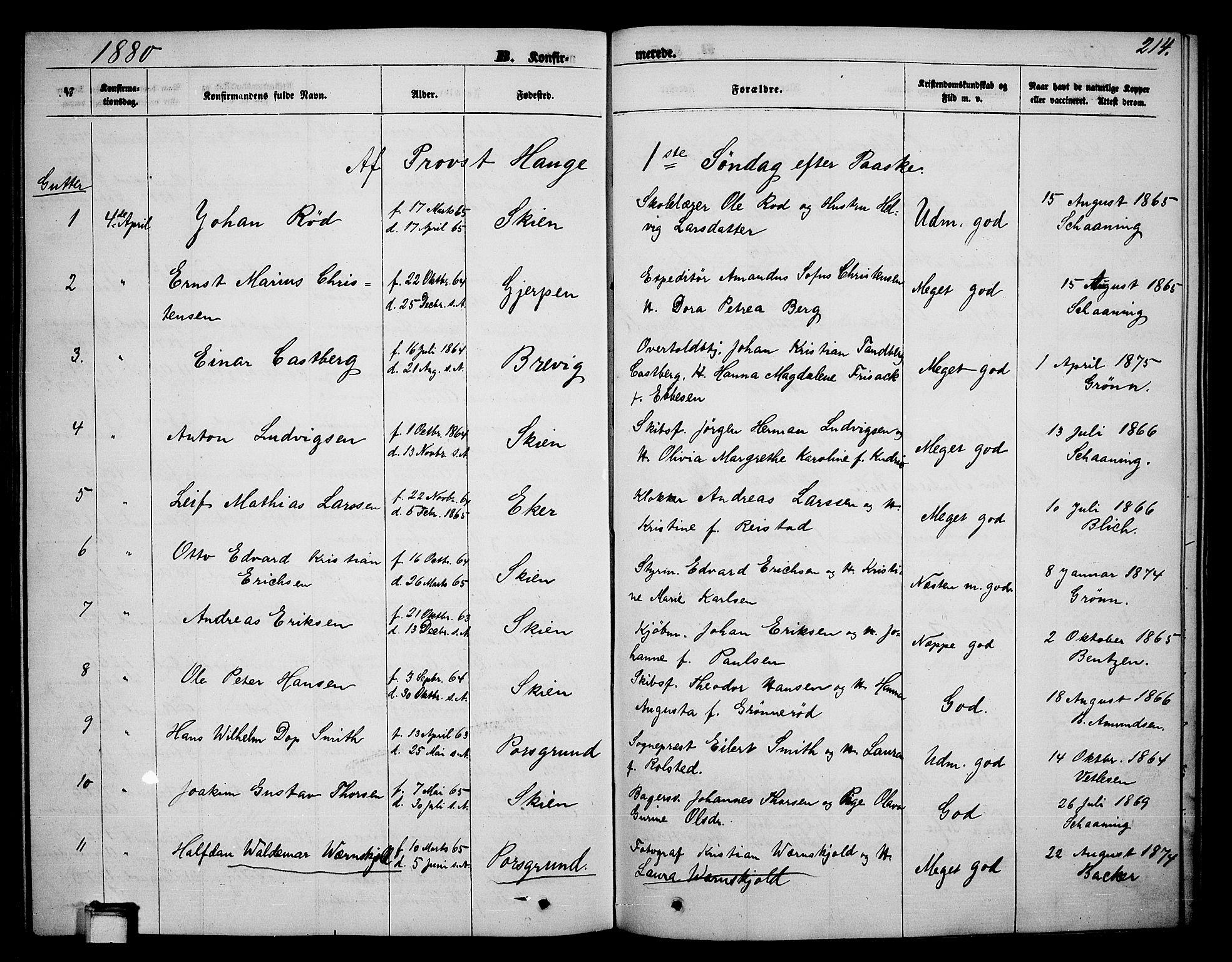 SAKO, Skien kirkebøker, G/Ga/L0005: Klokkerbok nr. 5, 1868-1880, s. 214