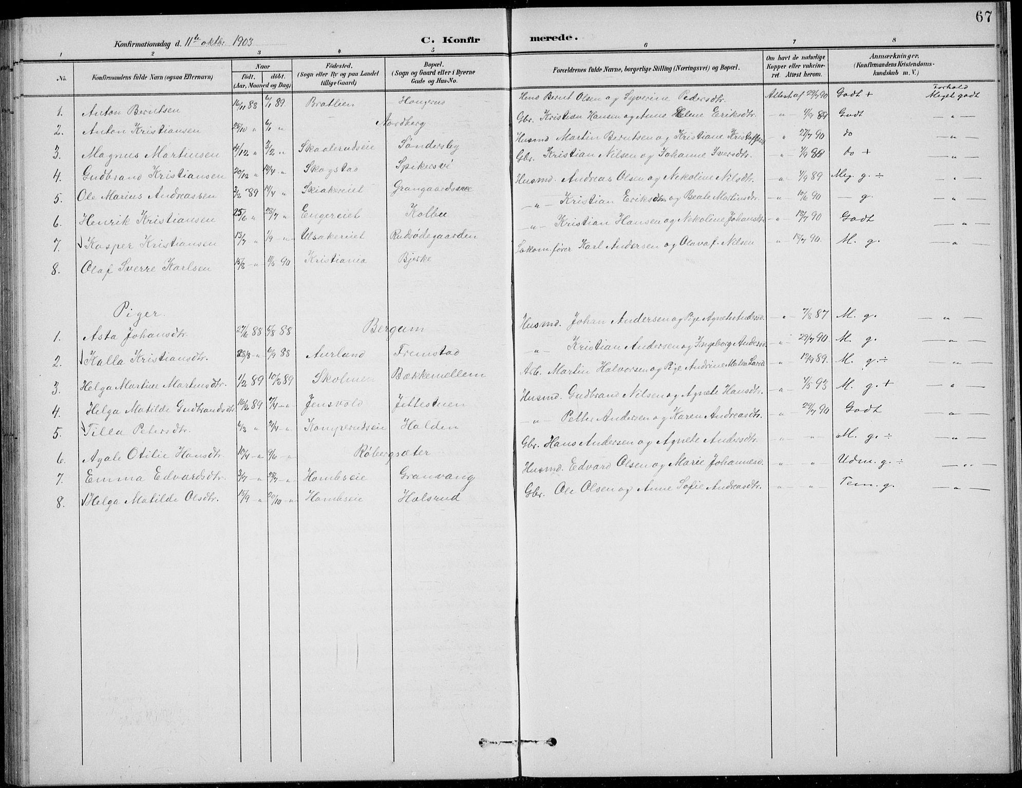 SAH, Nordre Land prestekontor, Klokkerbok nr. 14, 1891-1907, s. 67