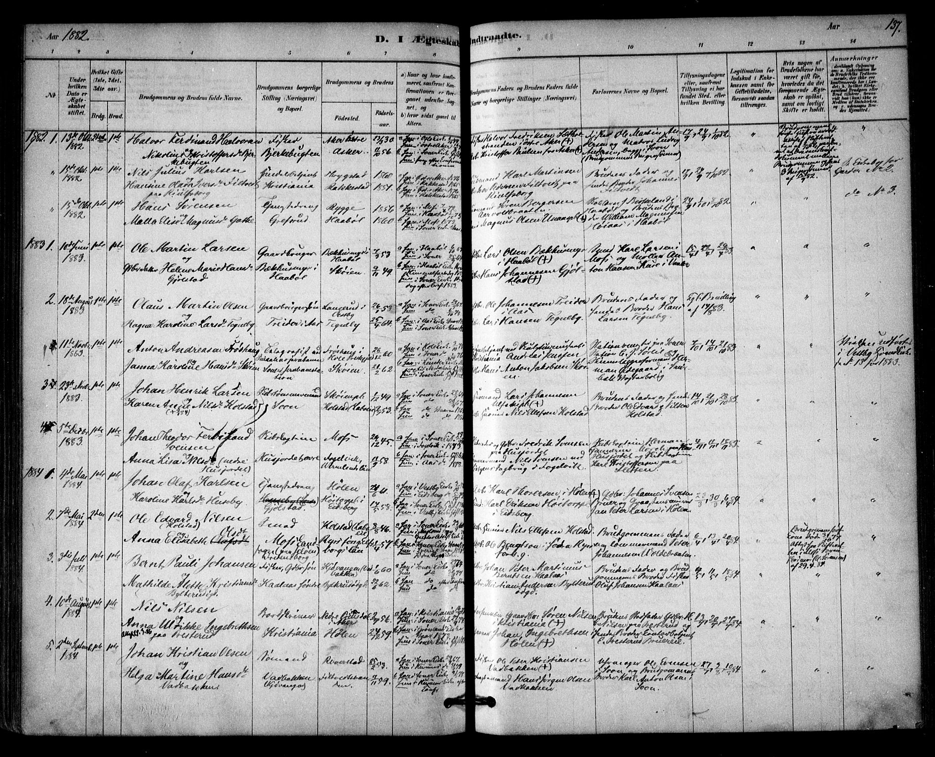 SAO, Vestby prestekontor Kirkebøker, F/Fb/L0001: Ministerialbok nr. II 1, 1878-1903, s. 137
