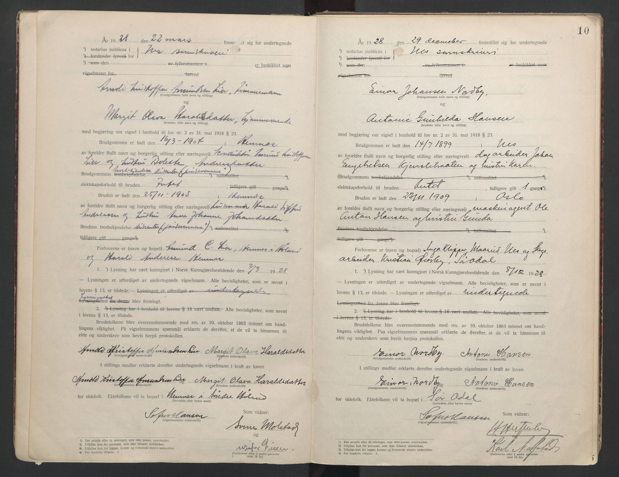 SAO, Nes tingrett, L/Lc/Lca/L0001: Vigselbok, 1920-1943, s. 10