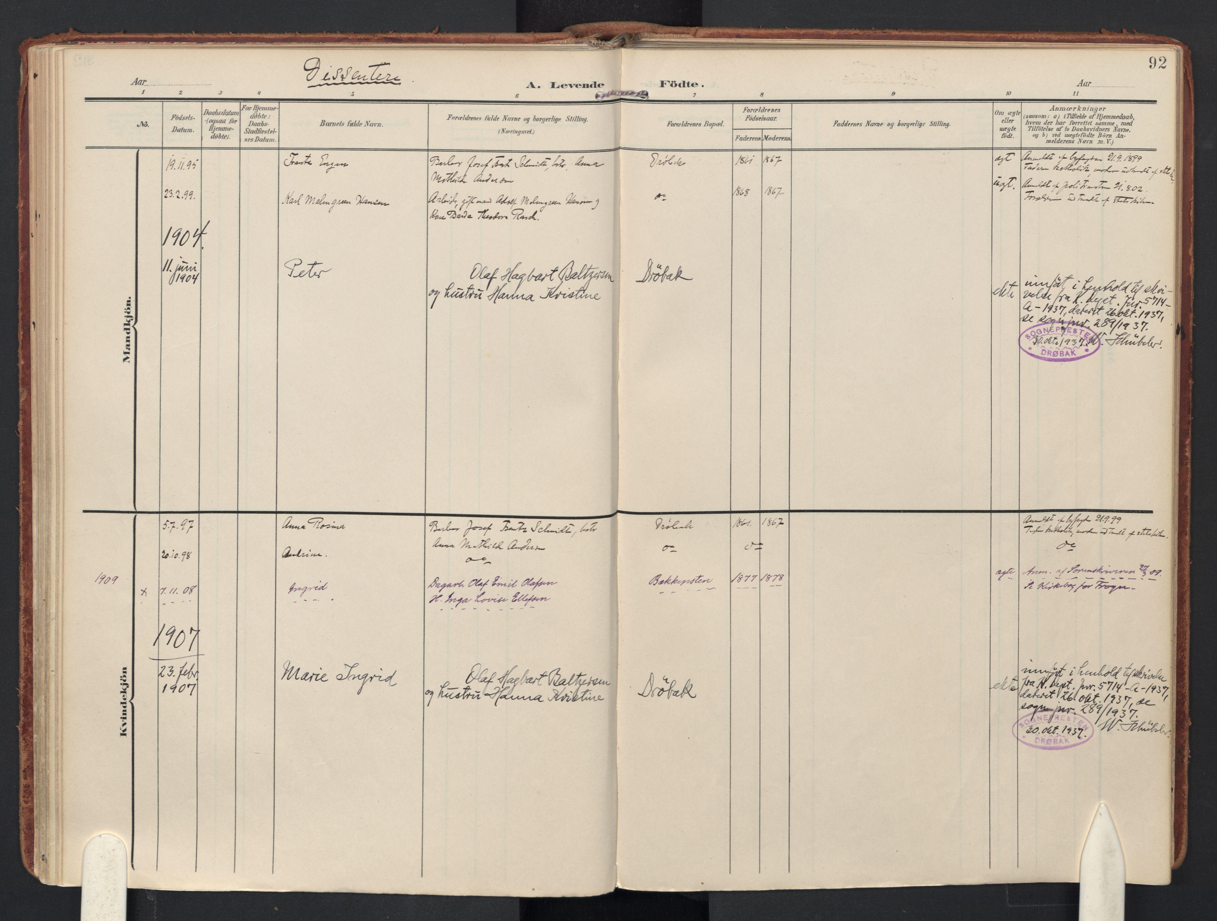 SAO, Drøbak prestekontor Kirkebøker, F/Fb/L0003: Ministerialbok nr. II 3, 1897-1918, s. 92