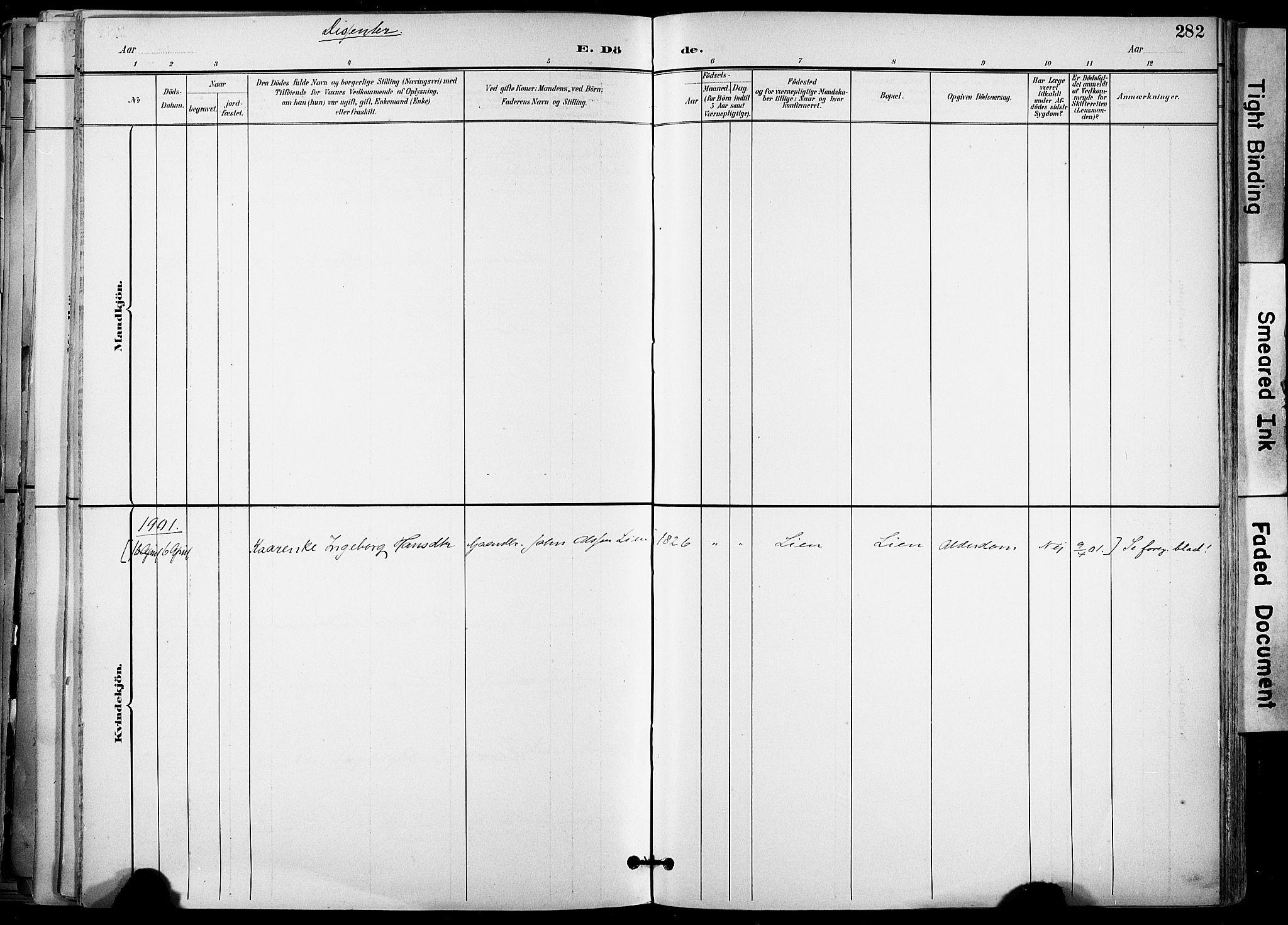 SAT, Ministerialprotokoller, klokkerbøker og fødselsregistre - Sør-Trøndelag, 678/L0902: Ministerialbok nr. 678A11, 1895-1911, s. 282