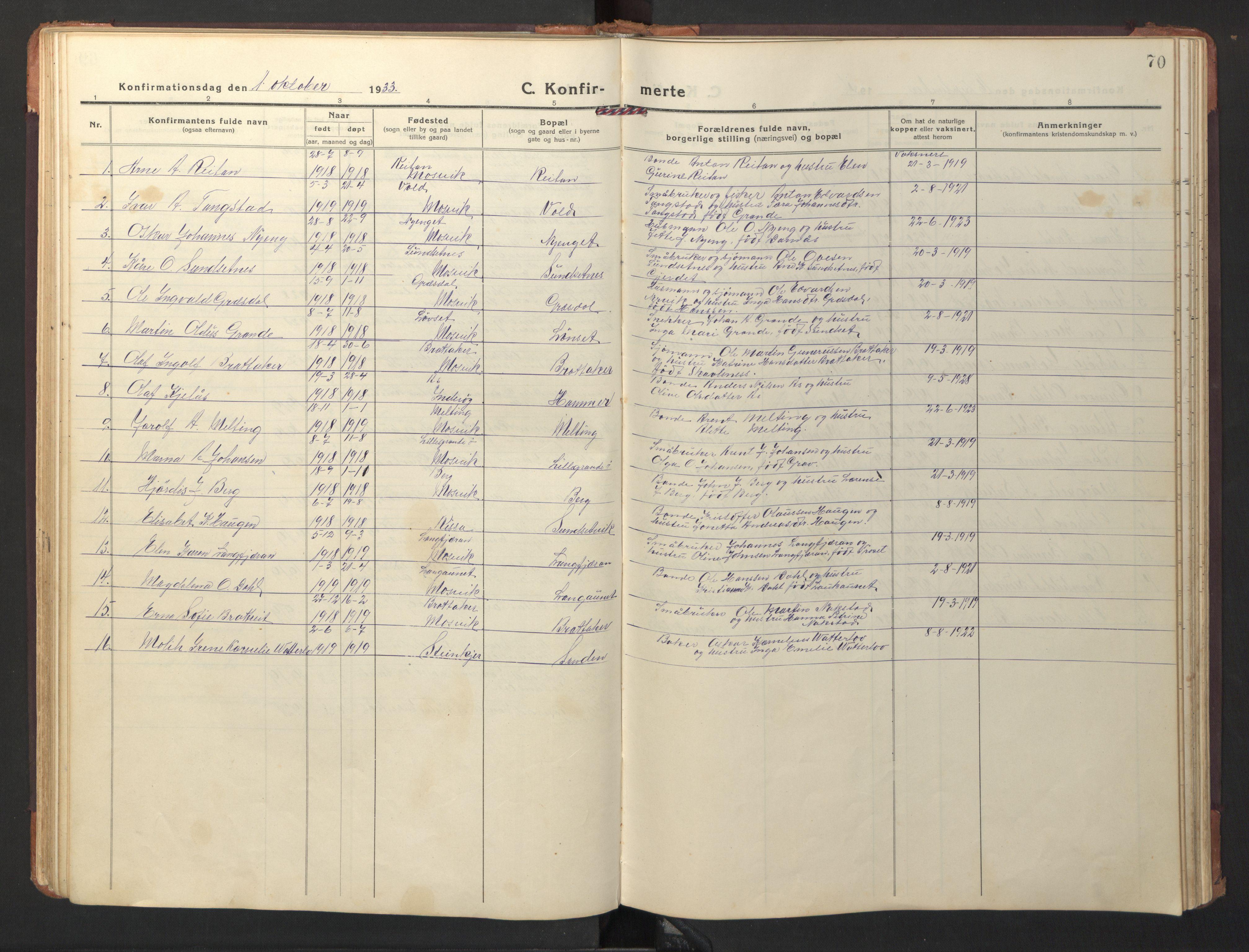 SAT, Ministerialprotokoller, klokkerbøker og fødselsregistre - Nord-Trøndelag, 733/L0328: Klokkerbok nr. 733C03, 1919-1966, s. 70