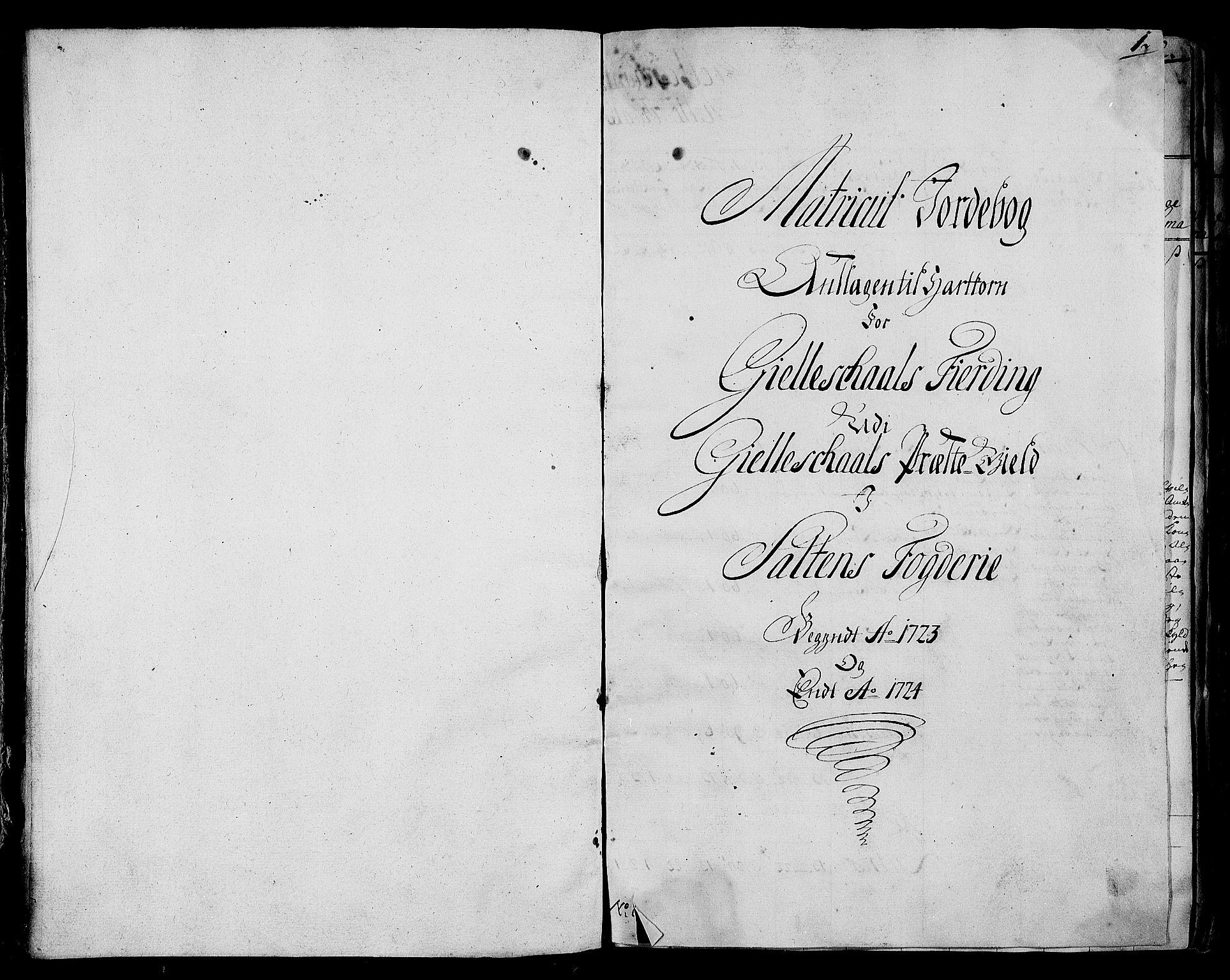 RA, Rentekammeret inntil 1814, Realistisk ordnet avdeling, N/Nb/Nbf/L0173: Salten matrikkelprotokoll, 1723, s. 1a