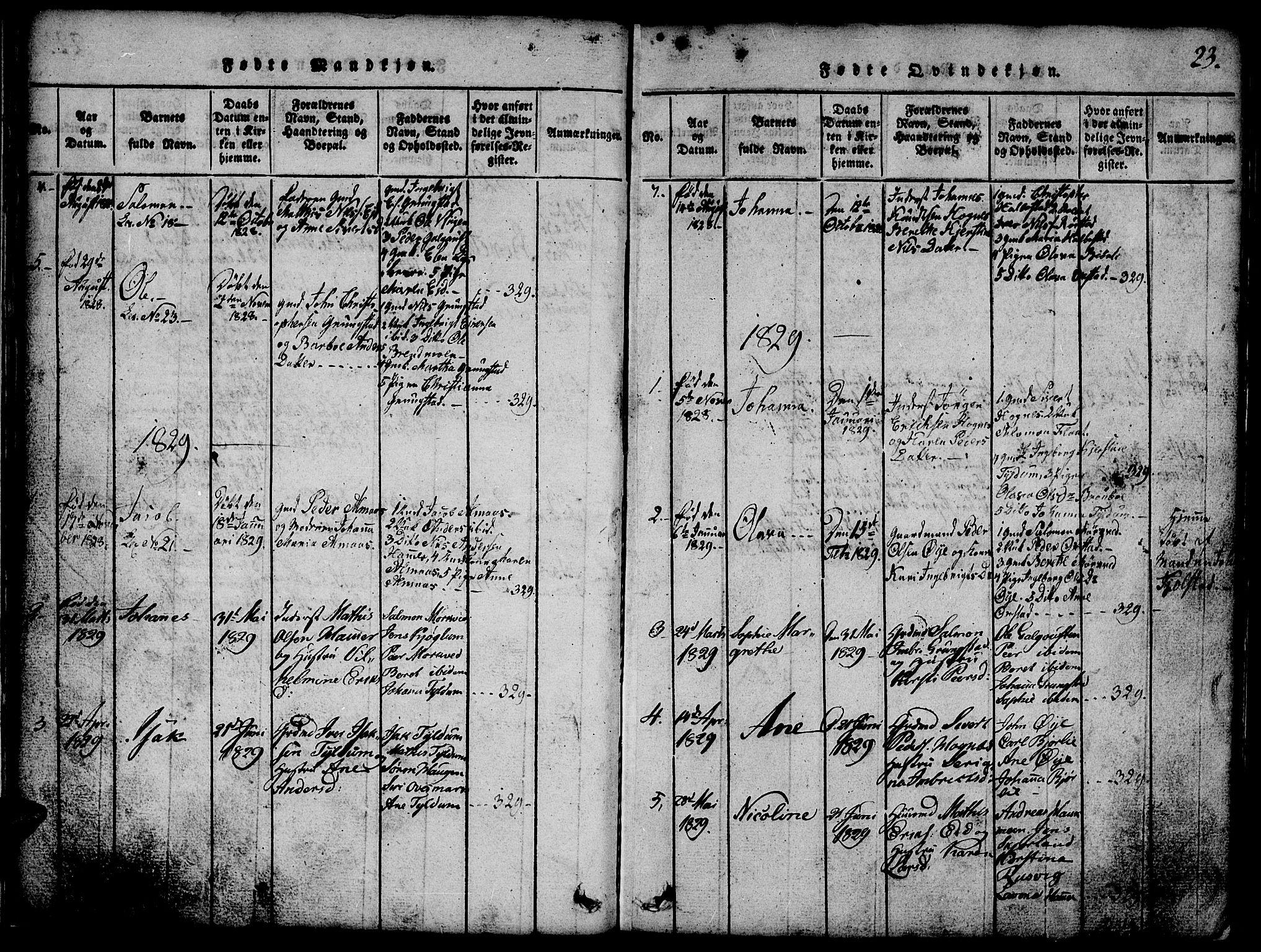 SAT, Ministerialprotokoller, klokkerbøker og fødselsregistre - Nord-Trøndelag, 765/L0562: Klokkerbok nr. 765C01, 1817-1851, s. 23