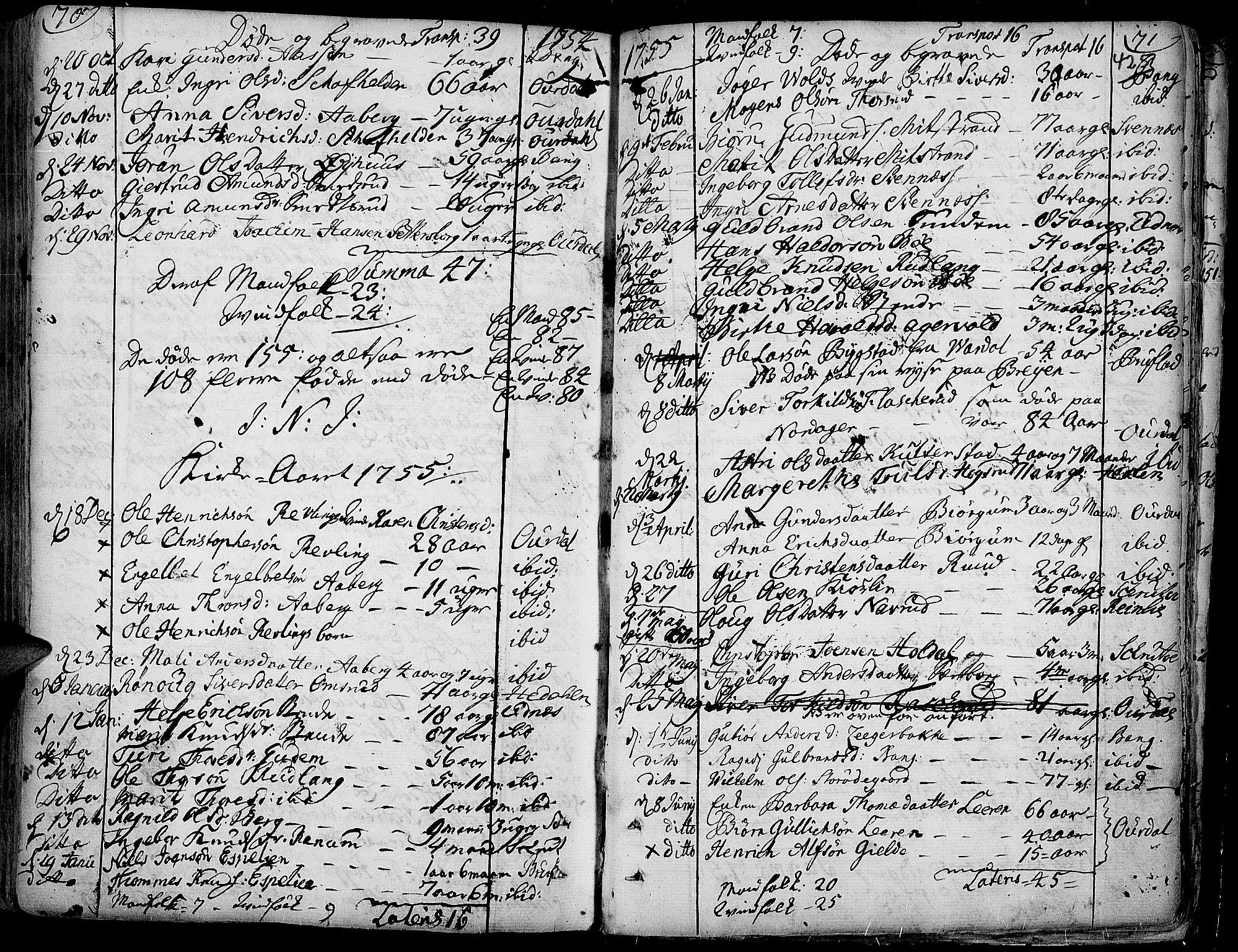 SAH, Aurdal prestekontor, Ministerialbok nr. 4, 1730-1762, s. 70-71