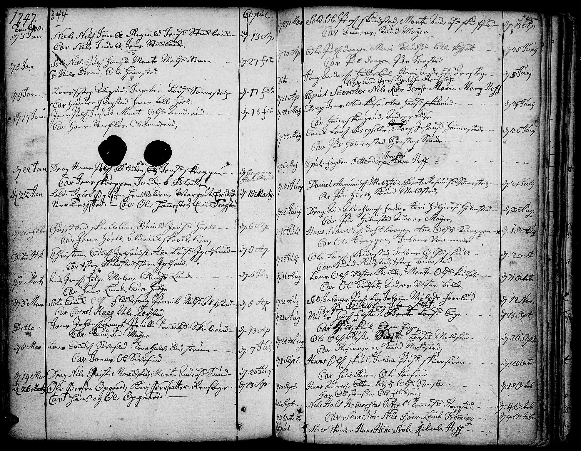 SAH, Toten prestekontor, Ministerialbok nr. 3, 1734-1751, s. 344-345