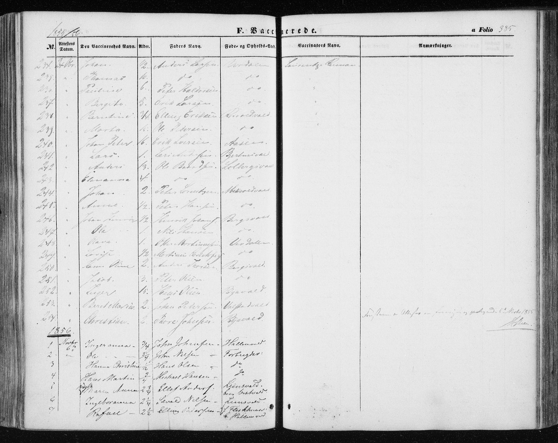 SAT, Ministerialprotokoller, klokkerbøker og fødselsregistre - Nord-Trøndelag, 723/L0240: Ministerialbok nr. 723A09, 1852-1860, s. 385