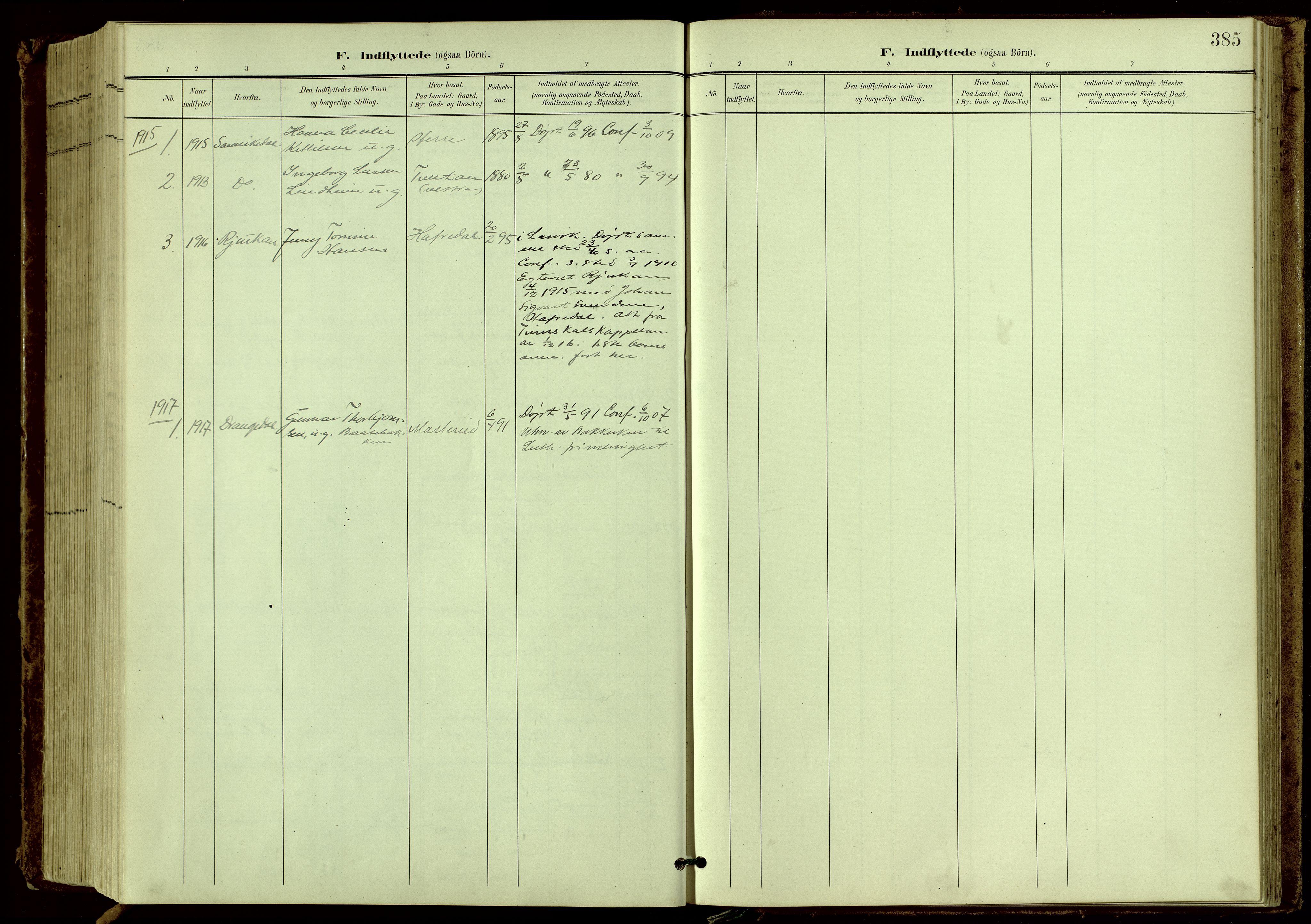 SAKO, Bamble kirkebøker, G/Ga/L0010: Klokkerbok nr. I 10, 1901-1919, s. 385