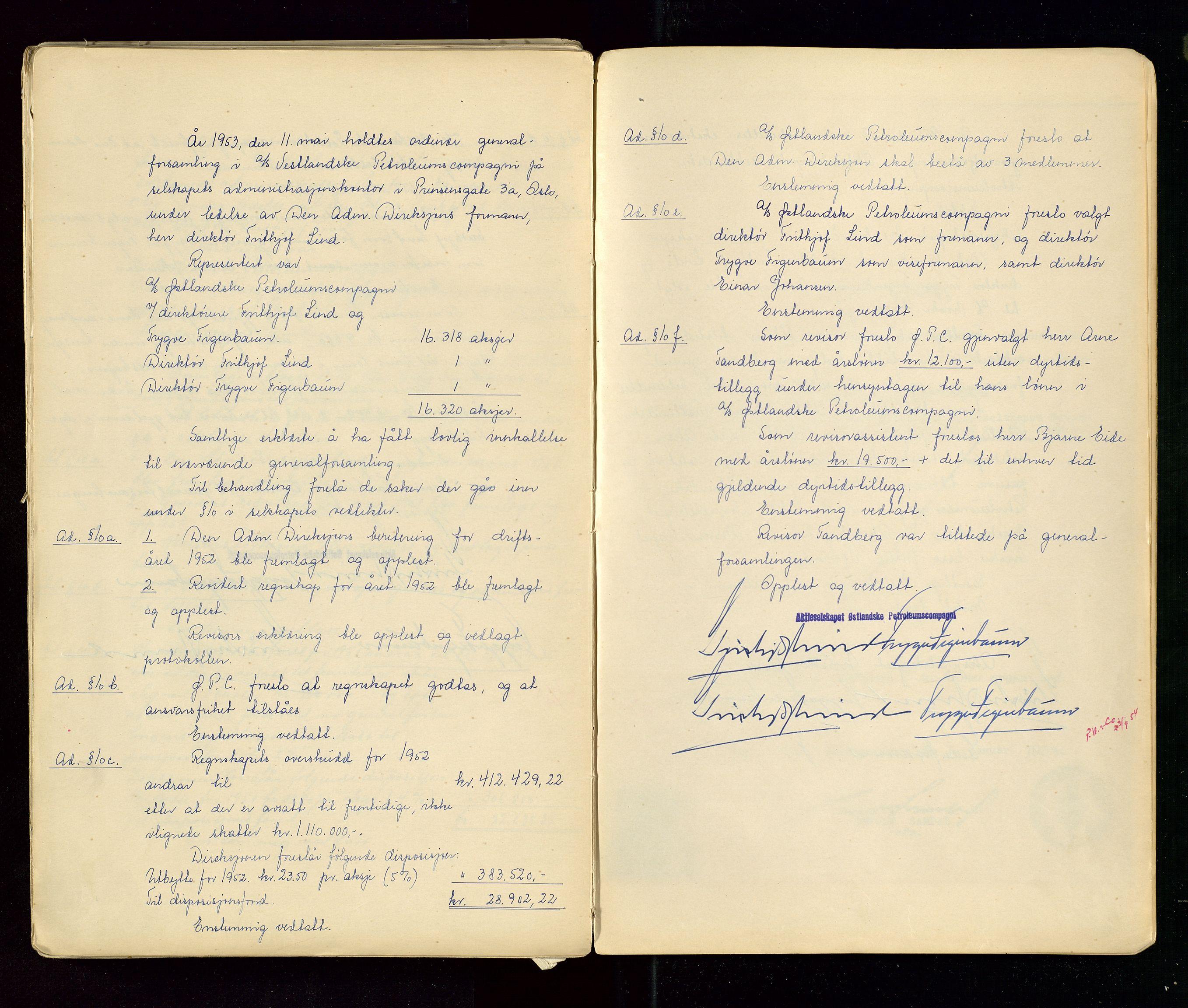 SAST, PA 1533 - A/S Vestlandske Petroleumscompani, A/Aa/L0001: Generalforsamlinger og styreprotokoller, 1890-1953, s. 145