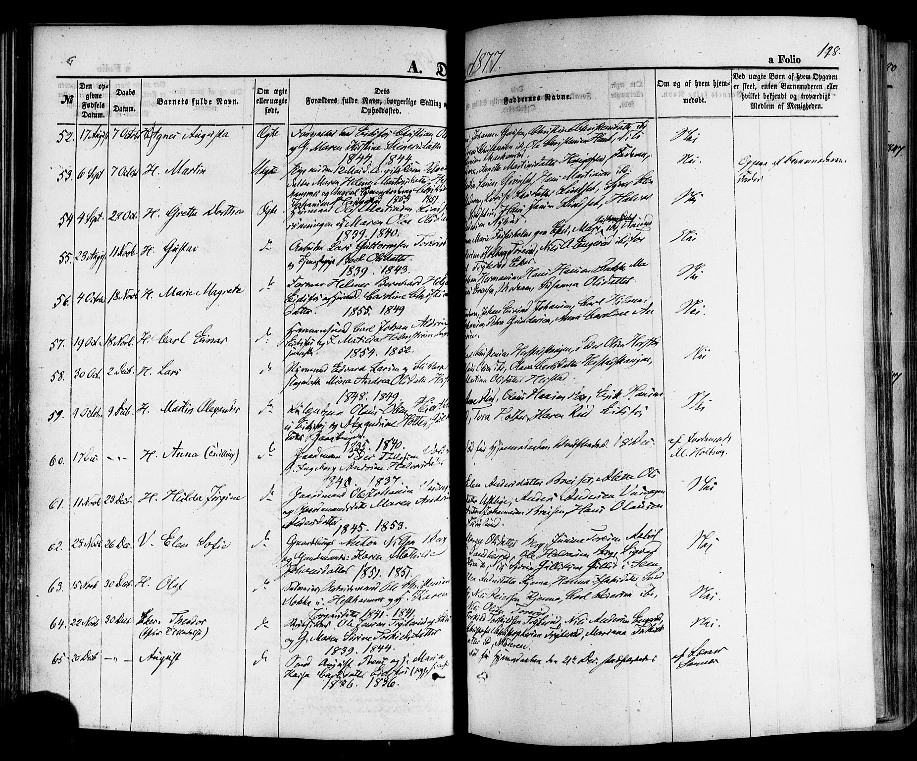 SAKO, Hof kirkebøker, F/Fa/L0006: Ministerialbok nr. I 6, 1851-1877, s. 198