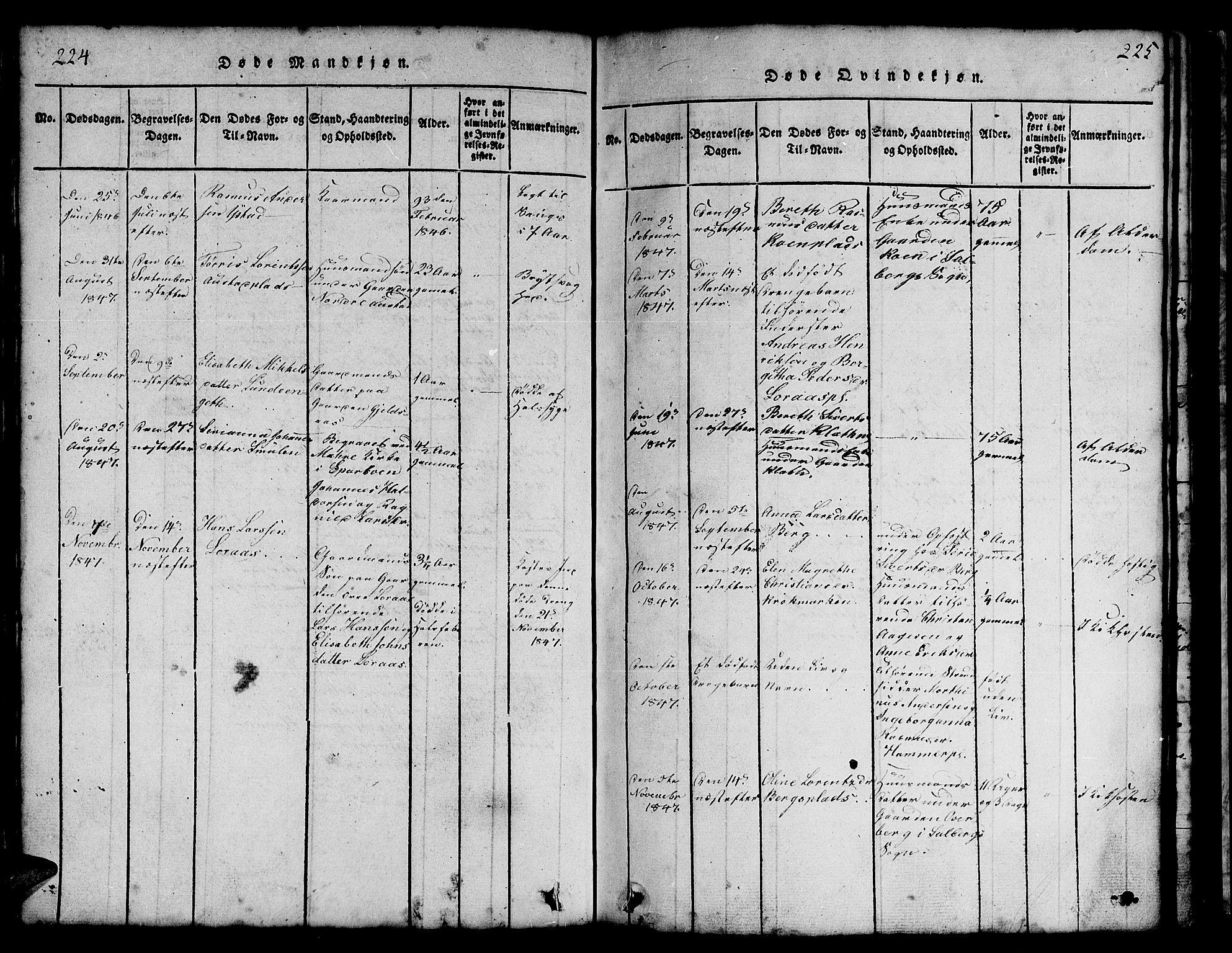 SAT, Ministerialprotokoller, klokkerbøker og fødselsregistre - Nord-Trøndelag, 731/L0310: Klokkerbok nr. 731C01, 1816-1874, s. 224-225