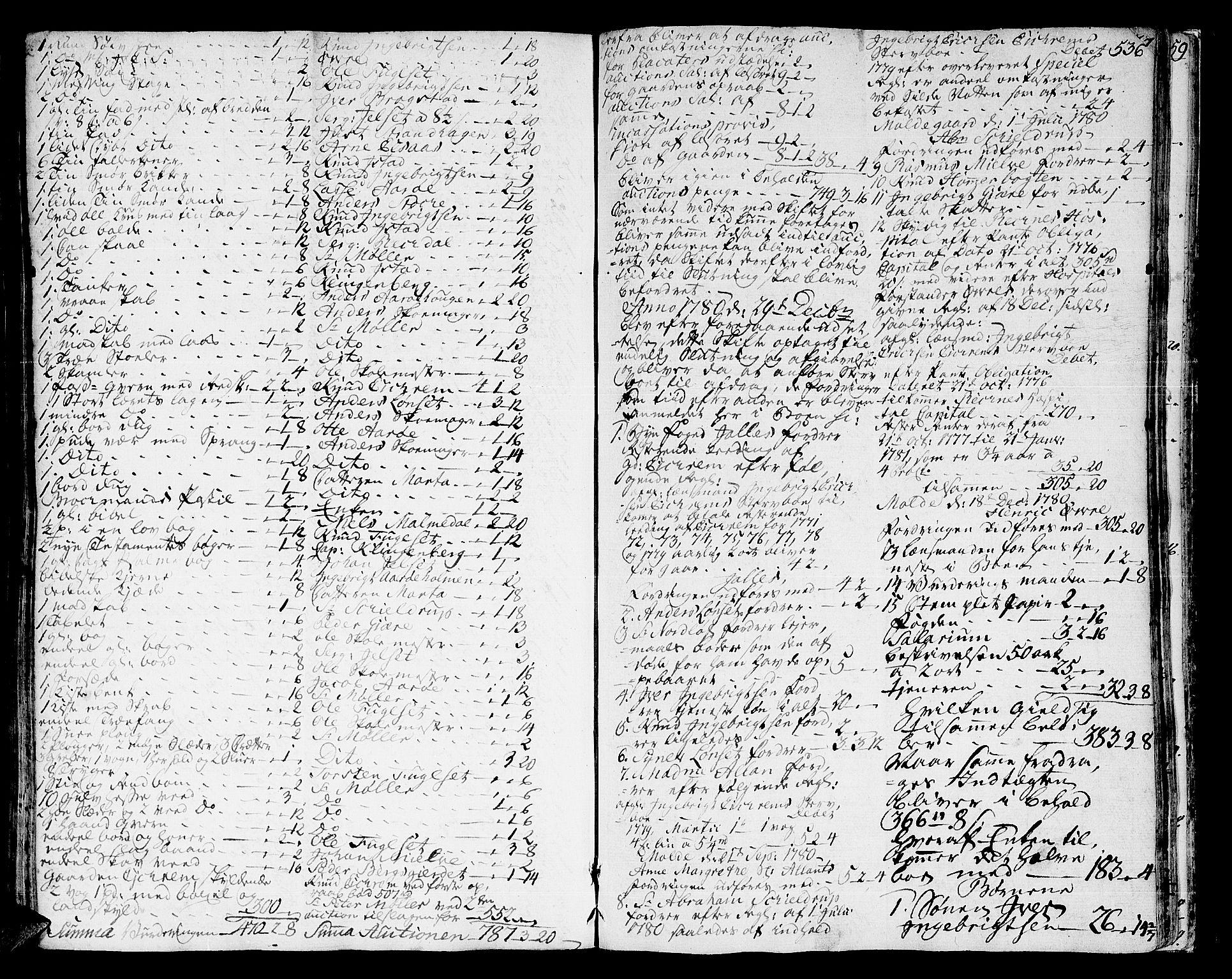 SAT, Romsdal sorenskriveri, 3/3A/L0010: Skifteprotokoll, 1774-1782, s. 535b-536a