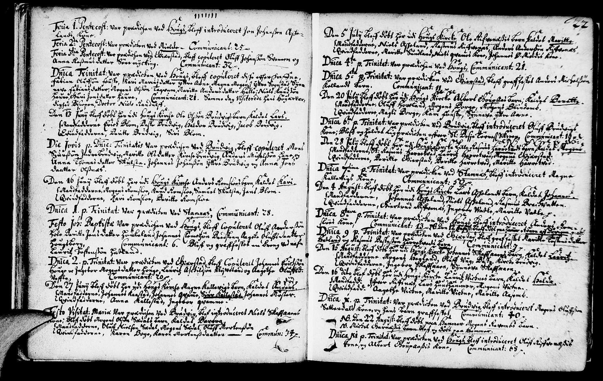 SAB, Haus Sokneprestembete, H/Haa: Ministerialbok nr. A 1, 1691-1712, s. 22