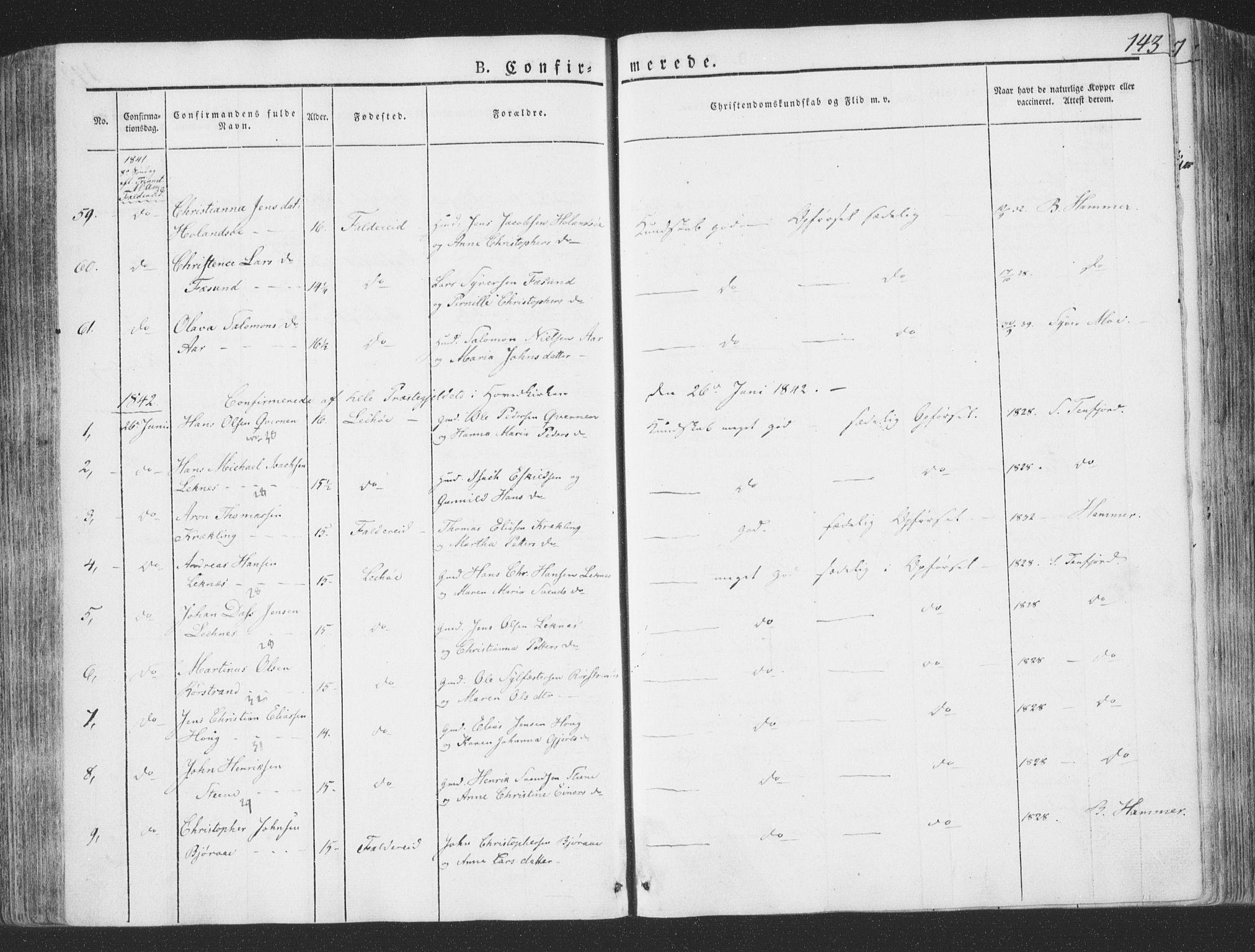 SAT, Ministerialprotokoller, klokkerbøker og fødselsregistre - Nord-Trøndelag, 780/L0639: Ministerialbok nr. 780A04, 1830-1844, s. 143