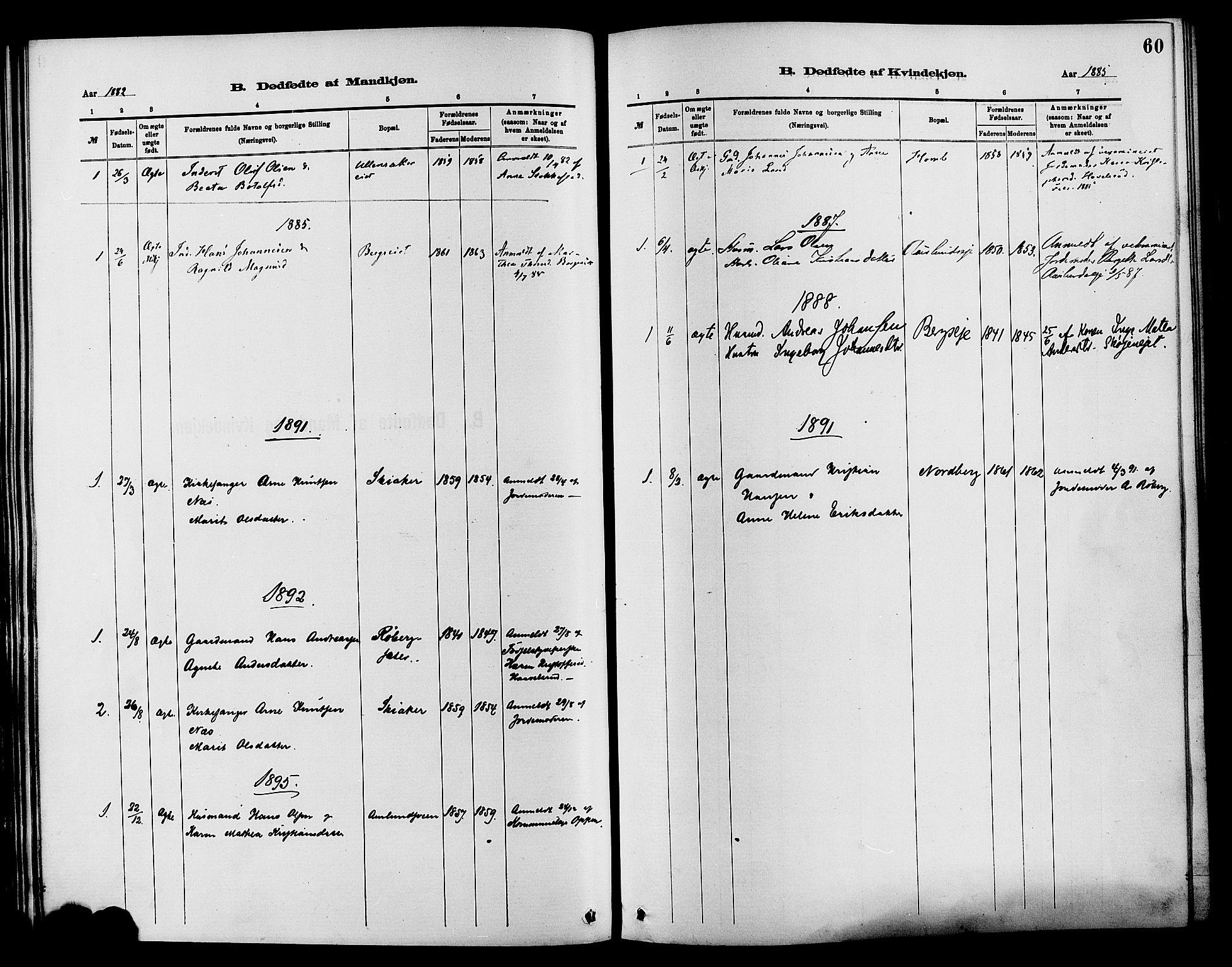 SAH, Nordre Land prestekontor, Ministerialbok nr. 3, 1882-1896, s. 60